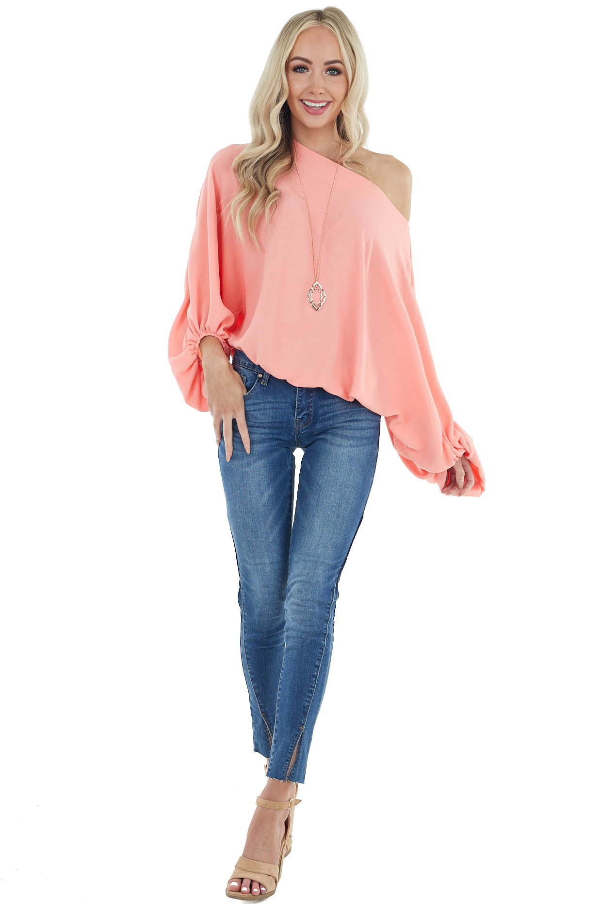 Coral Long Dolman Sleeve Woven Top with Boat Neckline