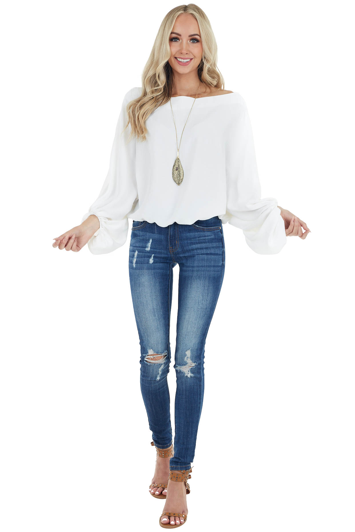 Ivory Long Dolman Sleeve Woven Top with Boat Neckline