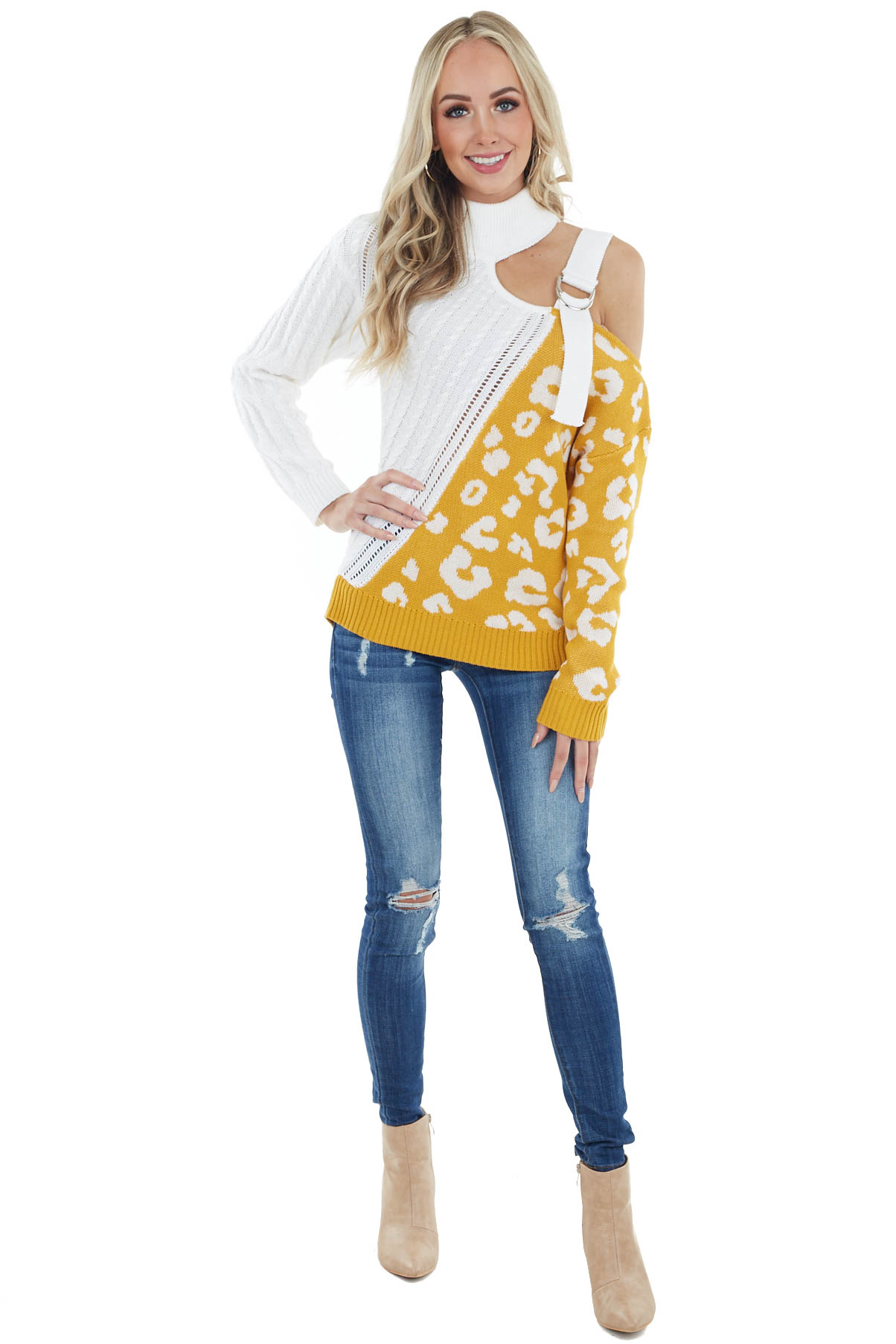 Cream and Honey Leopard Lightweight Crochet Knit Sweater