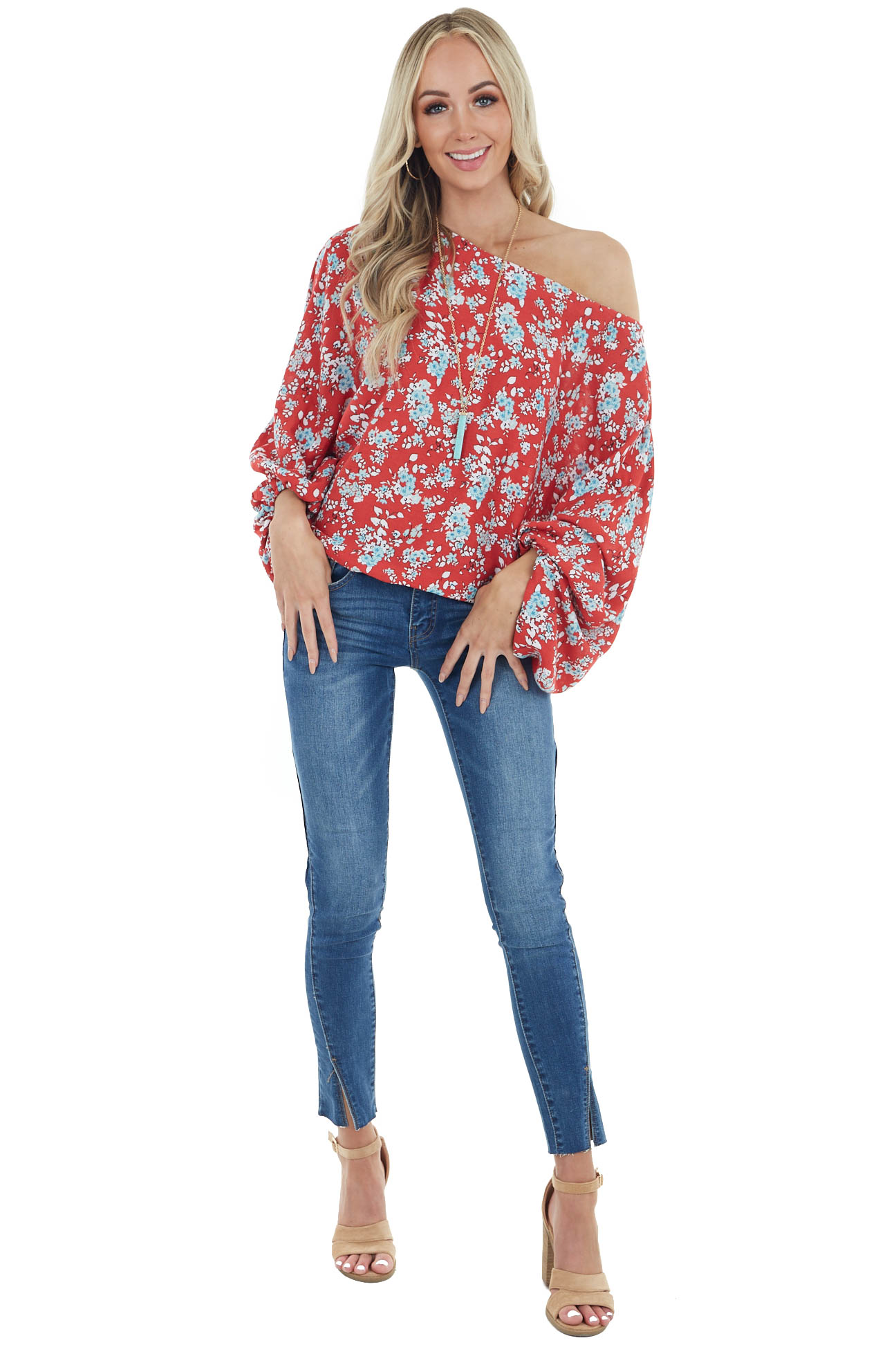 Ruby Floral Print Long Dolman Sleeve Top with Boat Neckline