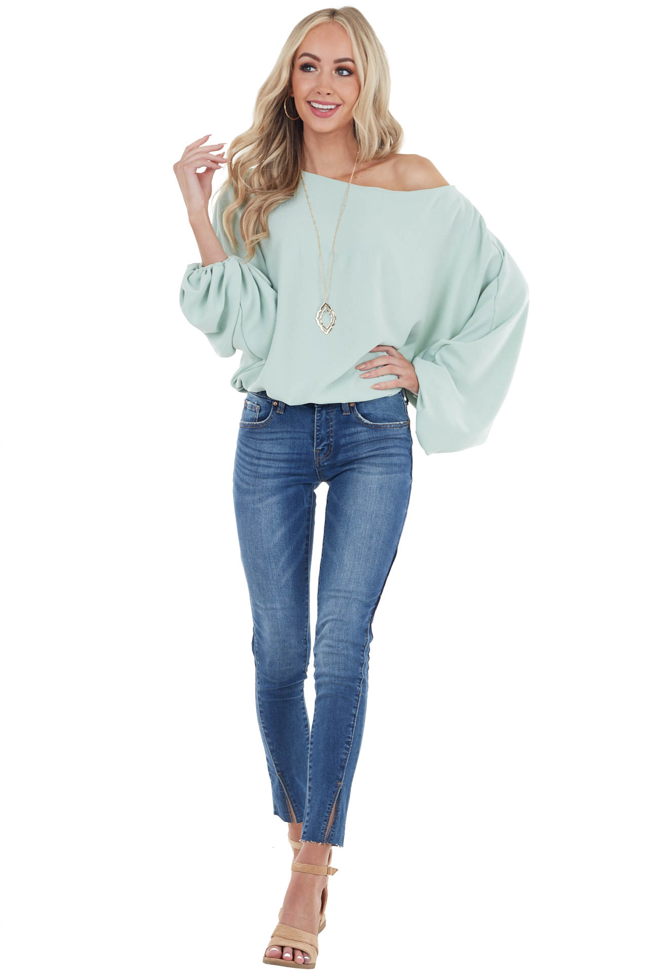 Sage Long Dolman Sleeve Woven Top with Boat Neckline