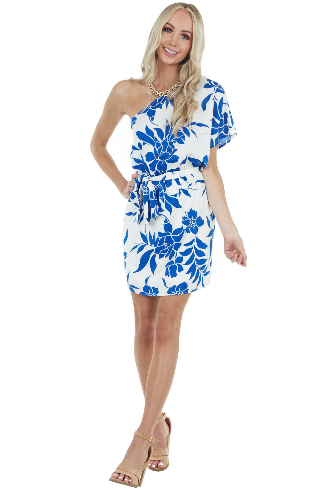 Ivory Floral Print One Shoulder Mini Dress with Tie Detail