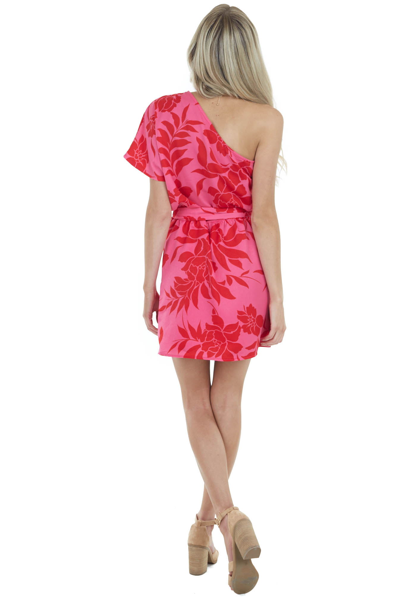Fuchsia Floral Print One Shoulder Mini Dress with Tie Detail