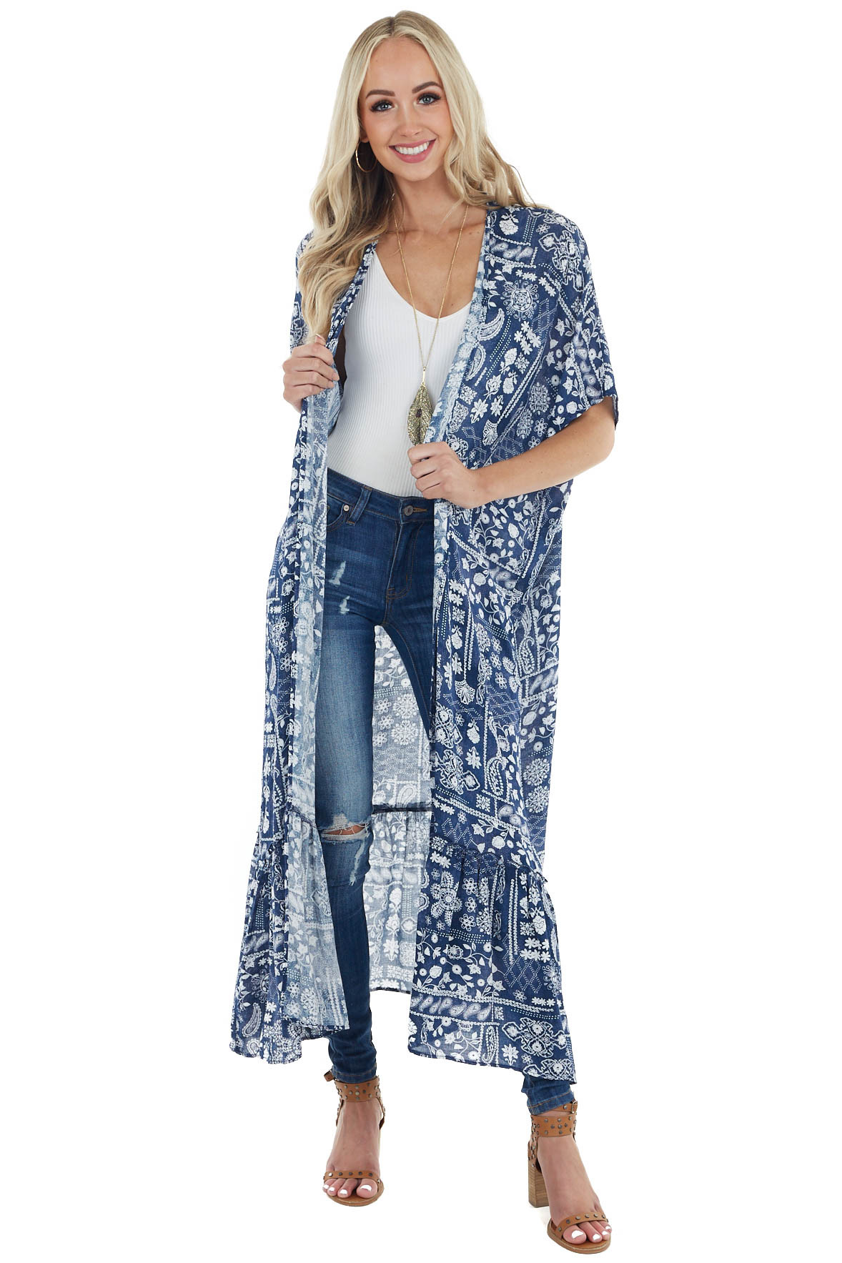 Navy Abstract Printed Lightweight Kimono with Ruffle Hemline