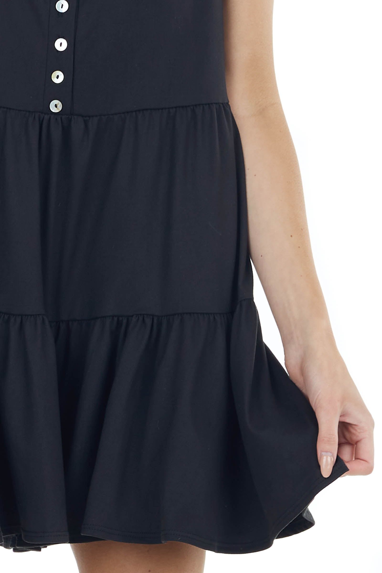 Black Sleeveless Tiered Romper with Front Button Detail