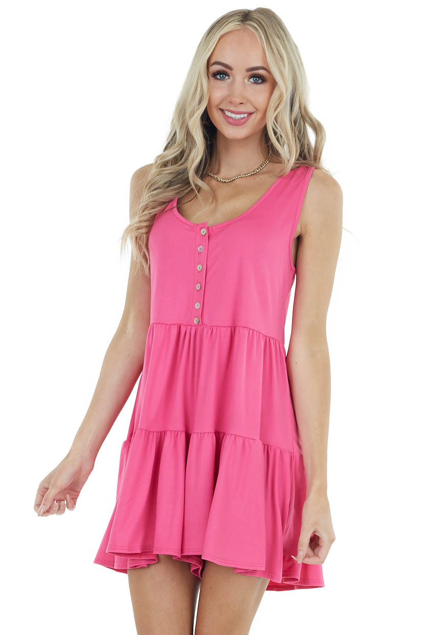 Pink Mini Sleeveless Tiered Romper with Front Button Detail