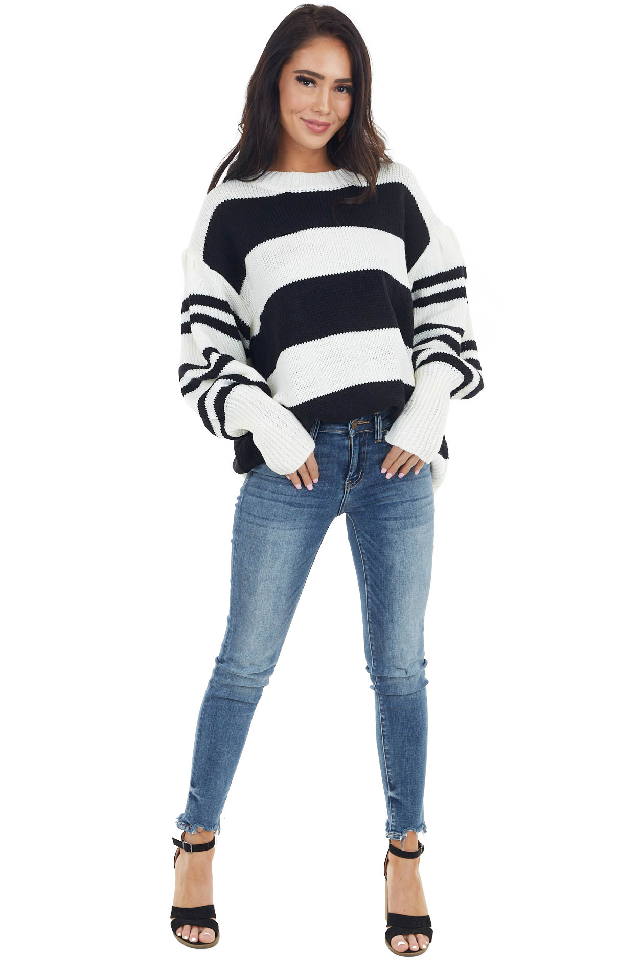 Ivory and Black Striped Long Balloon Sleeve Knit Sweater
