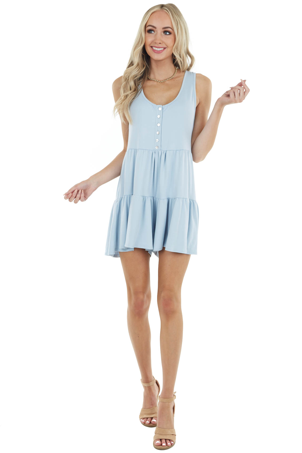 Blue Mini Sleeveless Tiered Romper with Front Button Detail