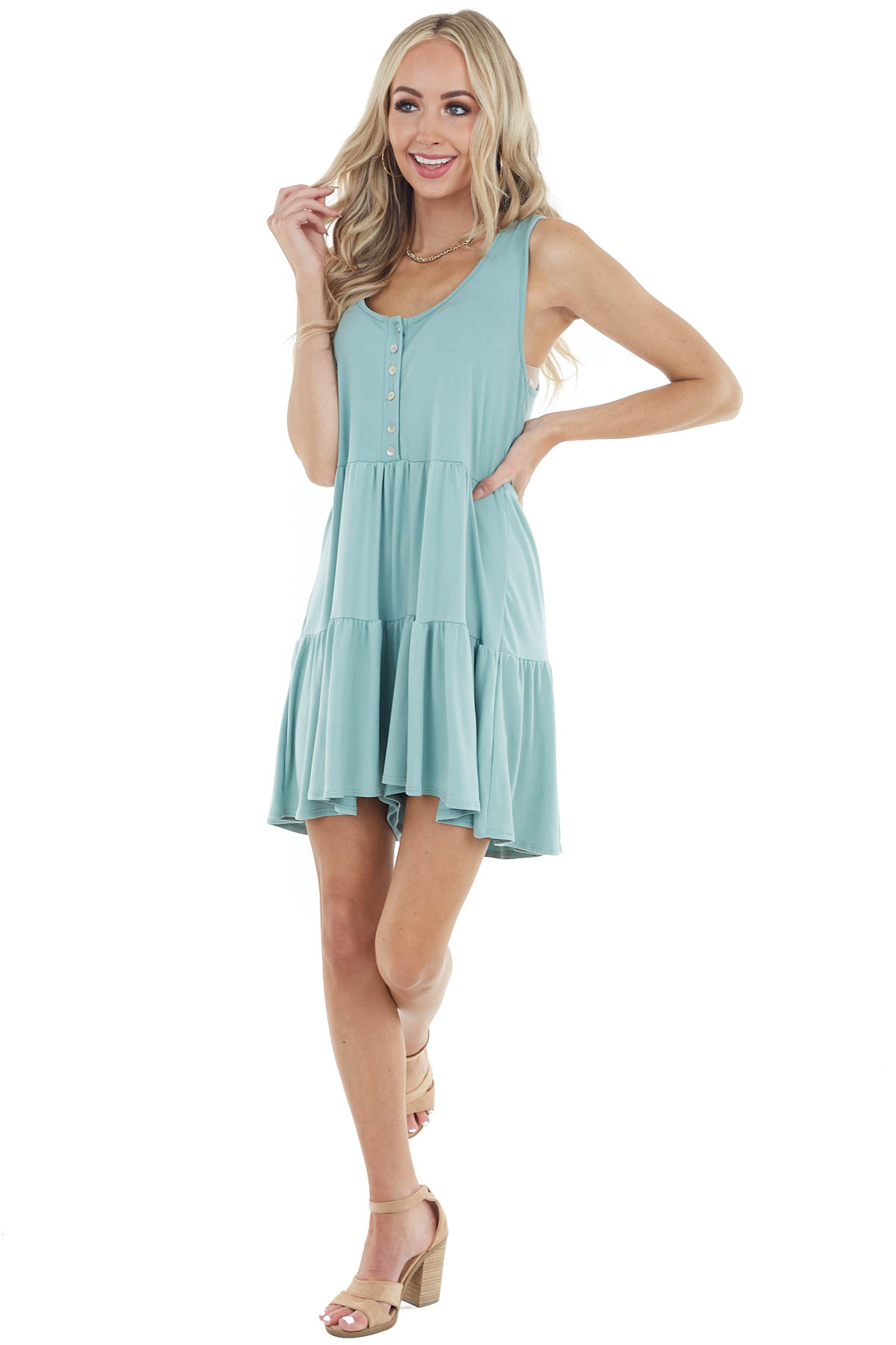 Sage Mini Sleeveless Tiered Romper with Front Button Detail