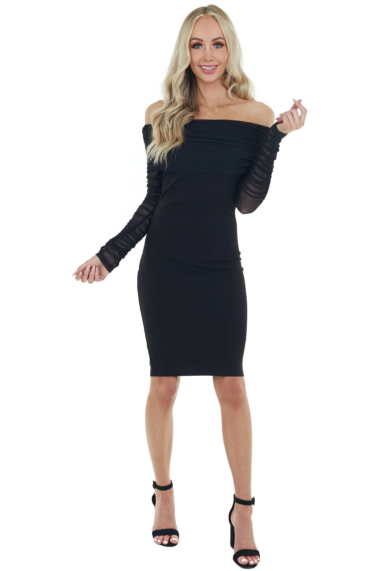 Black Off Shoulder Bodycon Dress with Mesh Ruched Sleeves