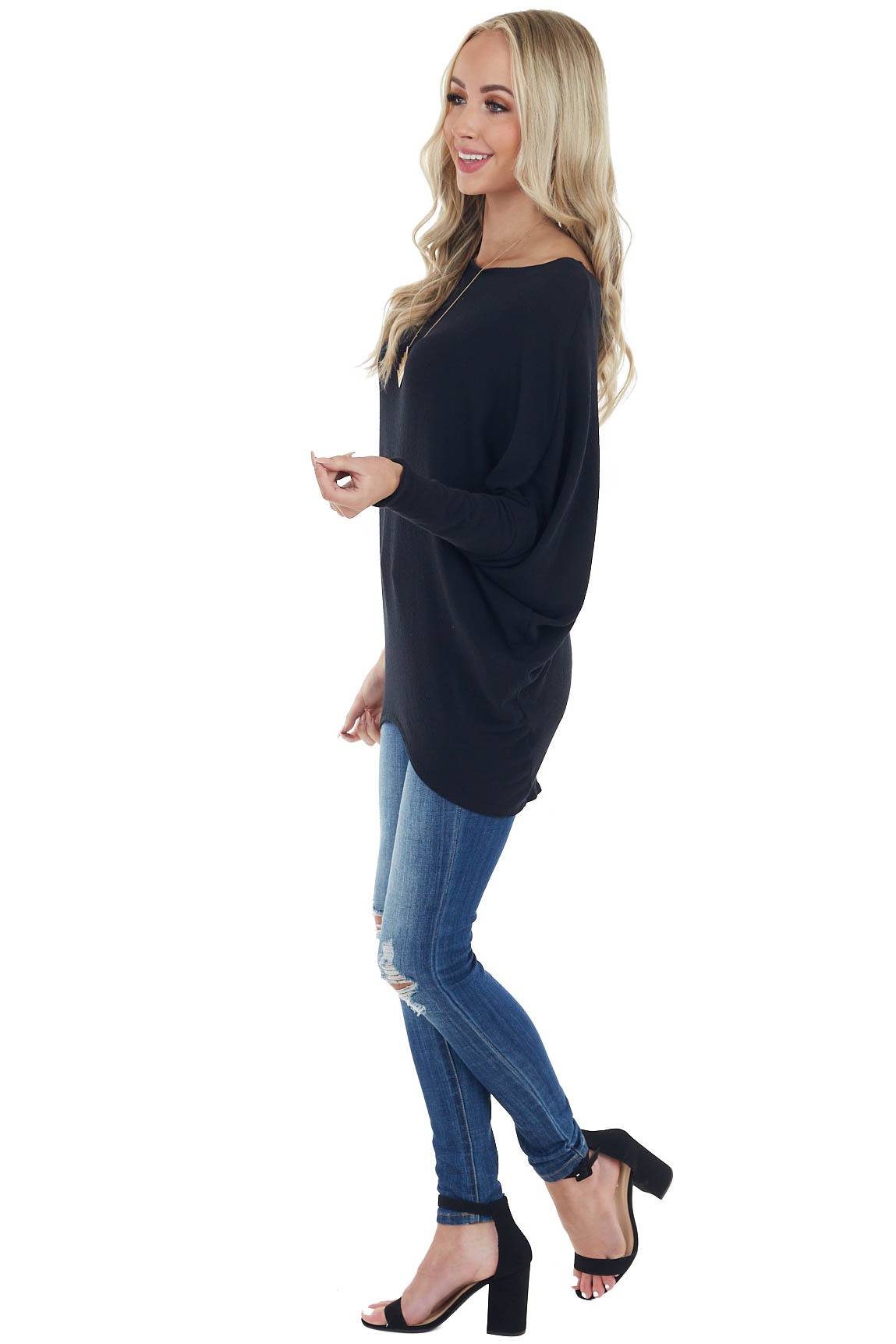 Black Round Neck Knit Top with Long Dolman Sleeves