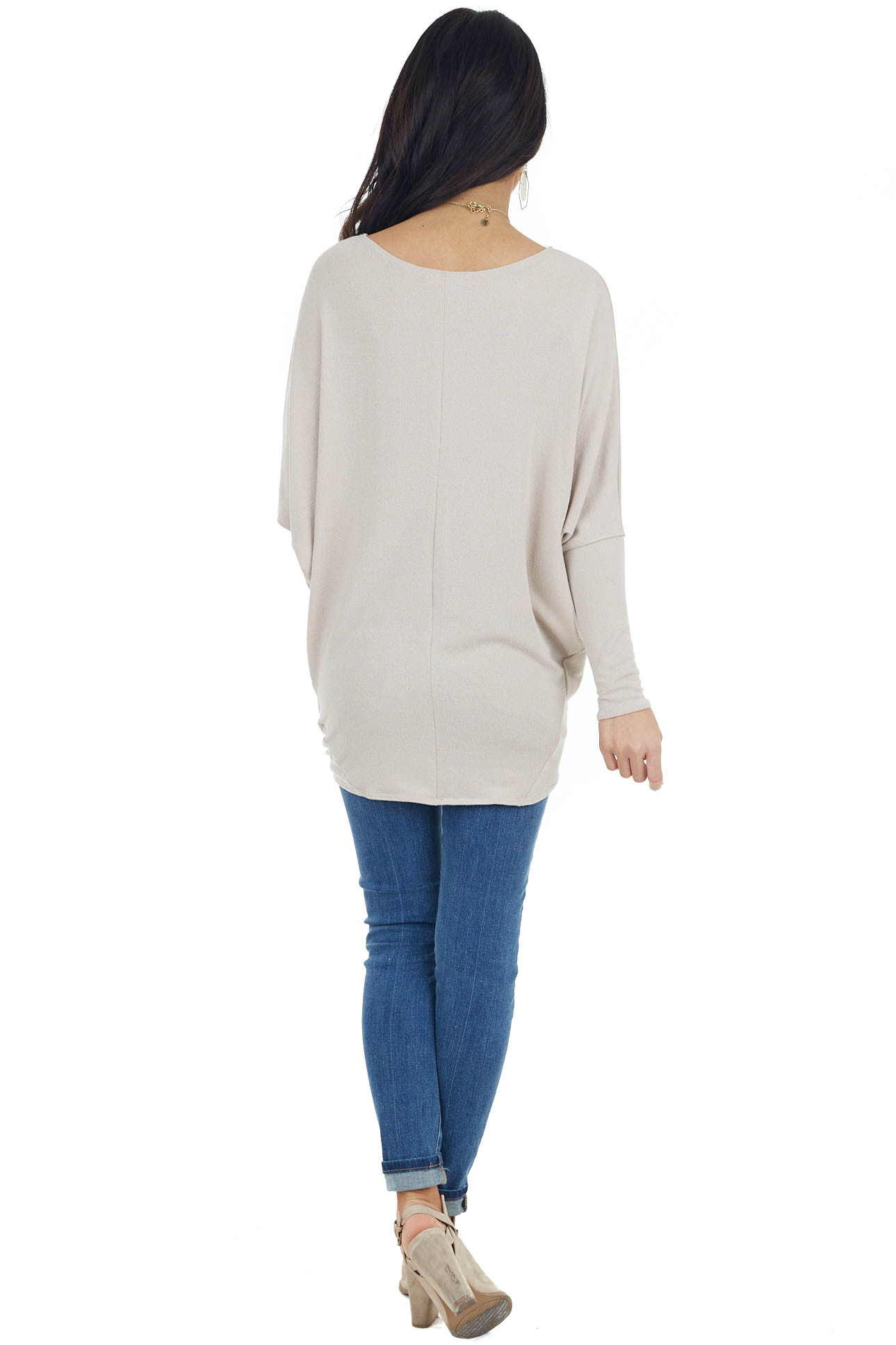 Beige Round Neck Knit Top with Long Dolman Sleeves
