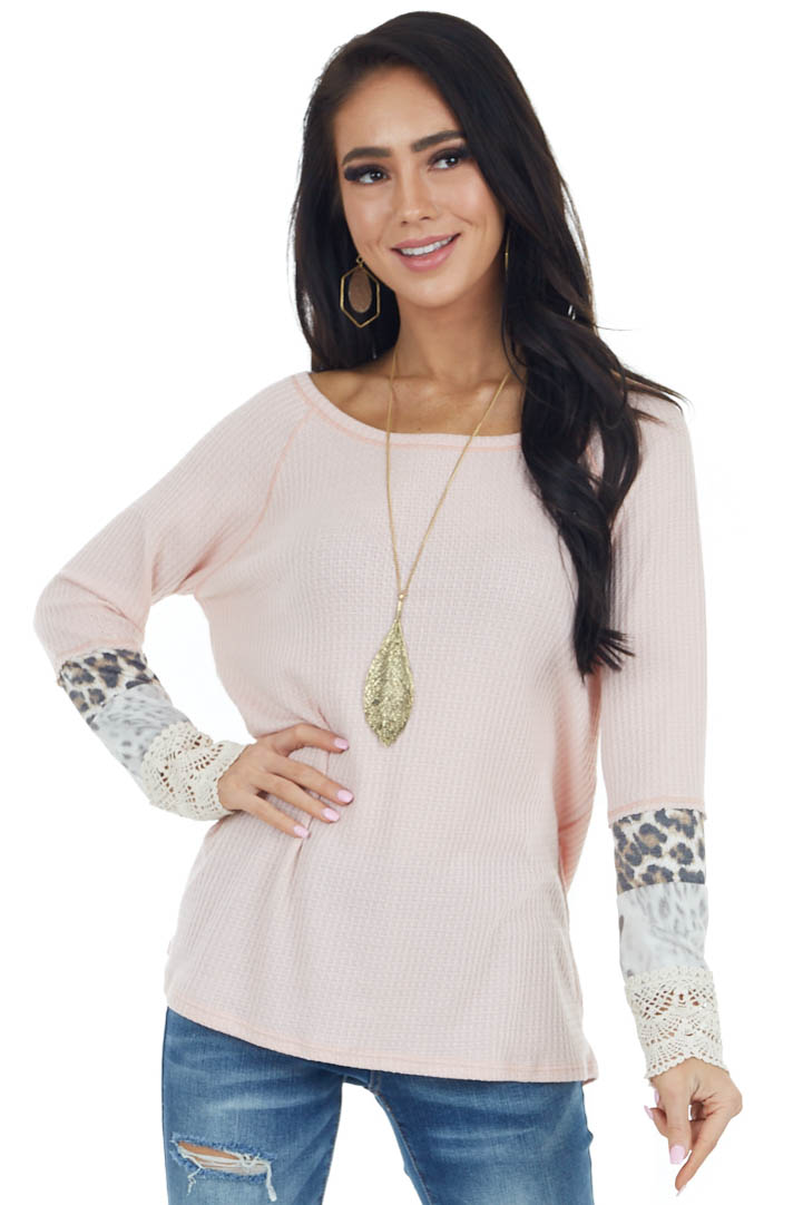 Blush Long Sleeve Waffle Knit Top with Multiprint Cuff