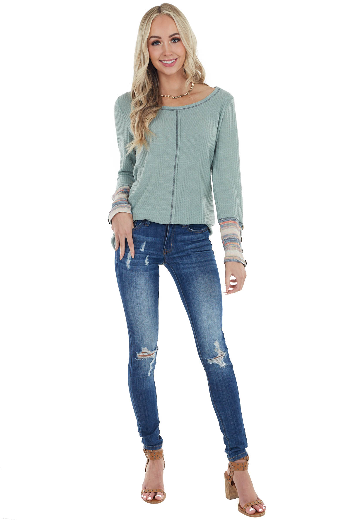 Sage Long Sleeve Waffle Knit Top with Multicolor Cuff Detail