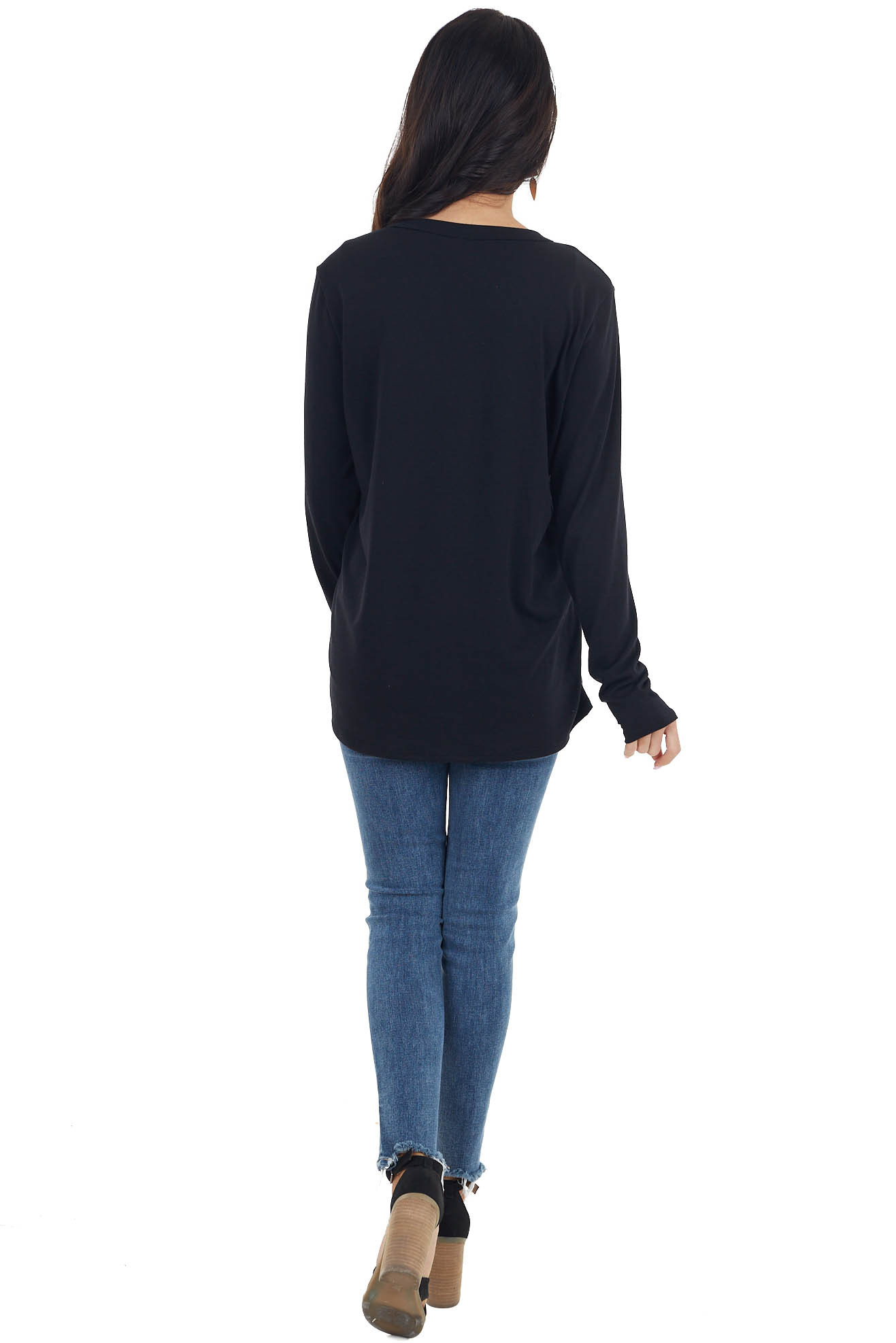 Black Long Sleeve Knit Top with Red and Oatmeal Heart Detail