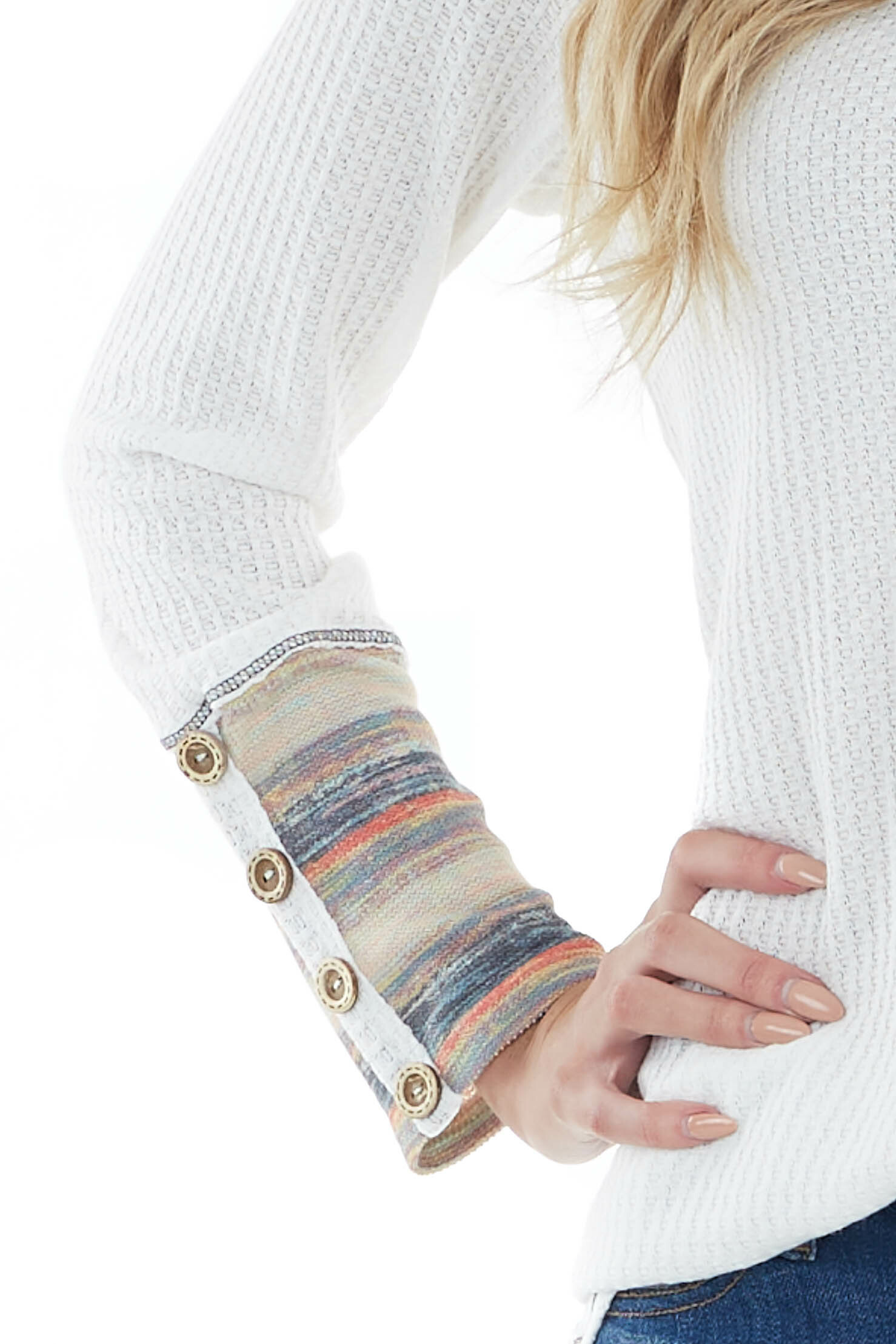 Off White Long Sleeve Waffle Knit Top with Multicolor Cuff