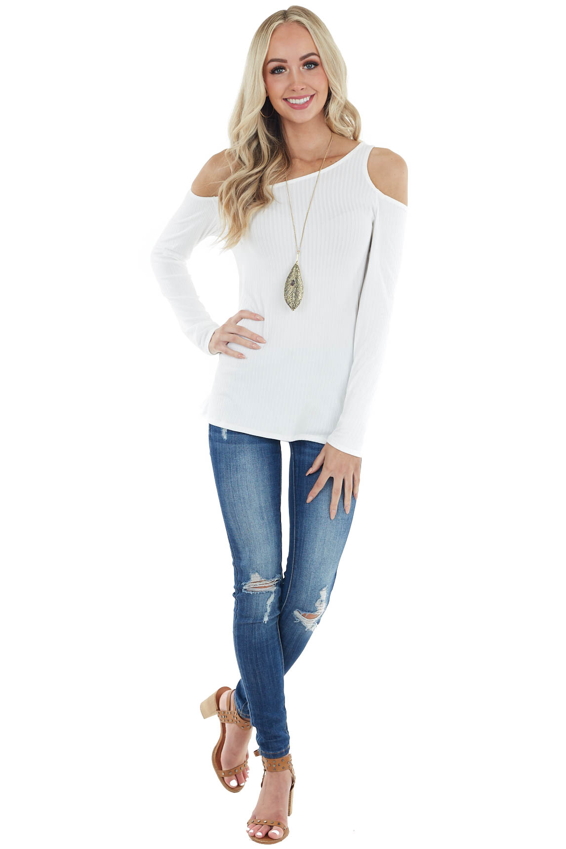 Ivory Ribbed Long Sleeve Soft Knit Top with Cold Shoulder