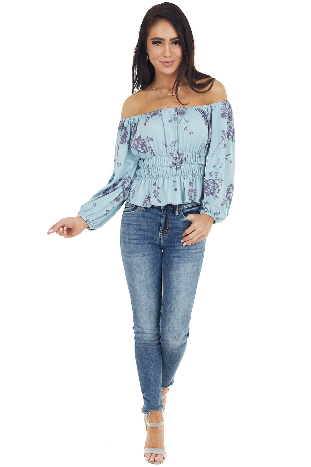 Seafoam and Slate Floral Print Off the Shoulder Knit Top