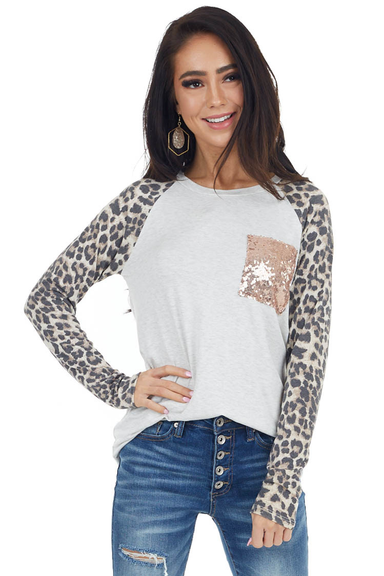 Oatmeal Leopard Print Knit Top with Rose Gold Sequin Pocket
