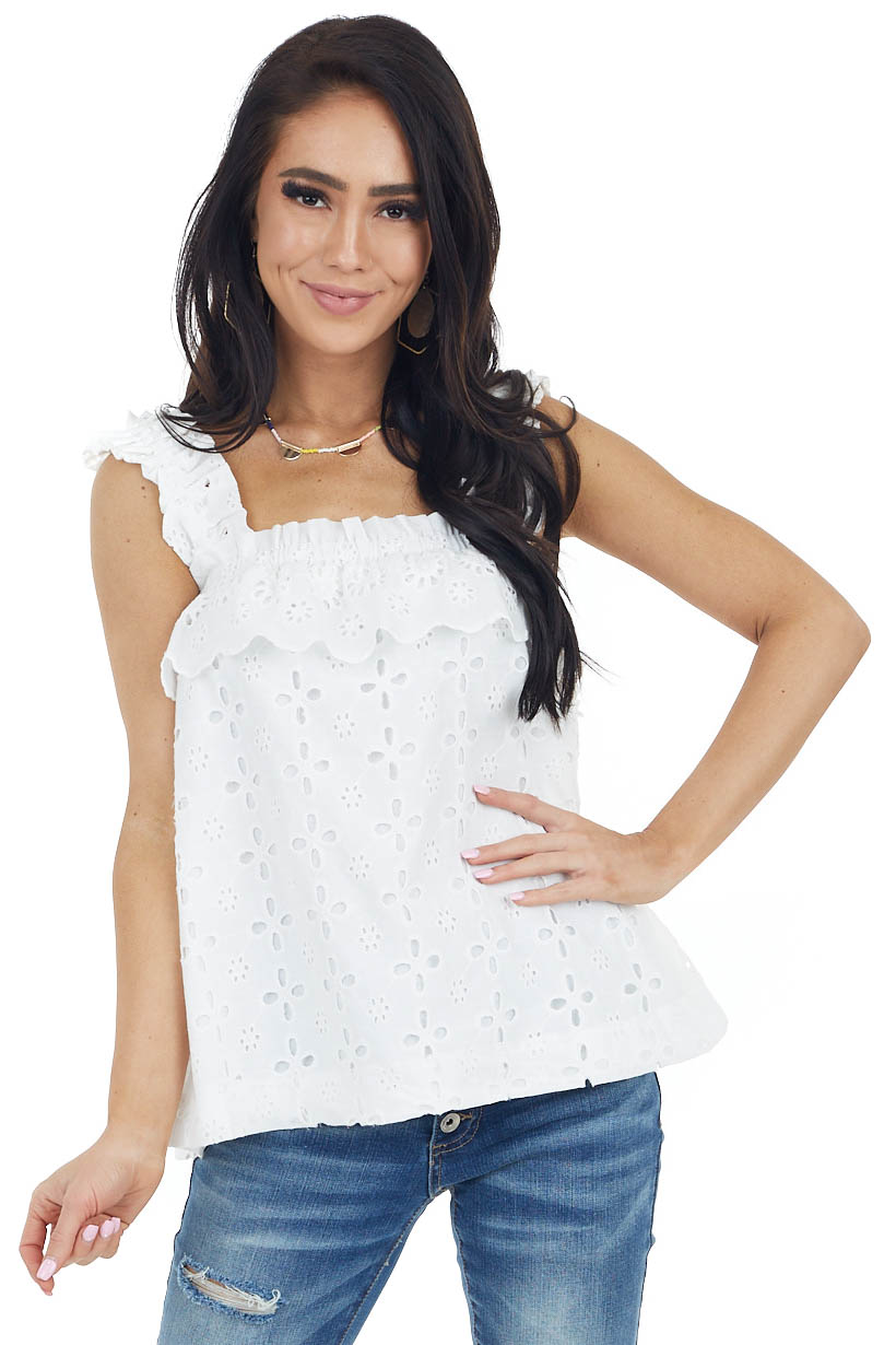 Ivory Eyelet Lace Sleeveless Woven Top with Ruffle Detail