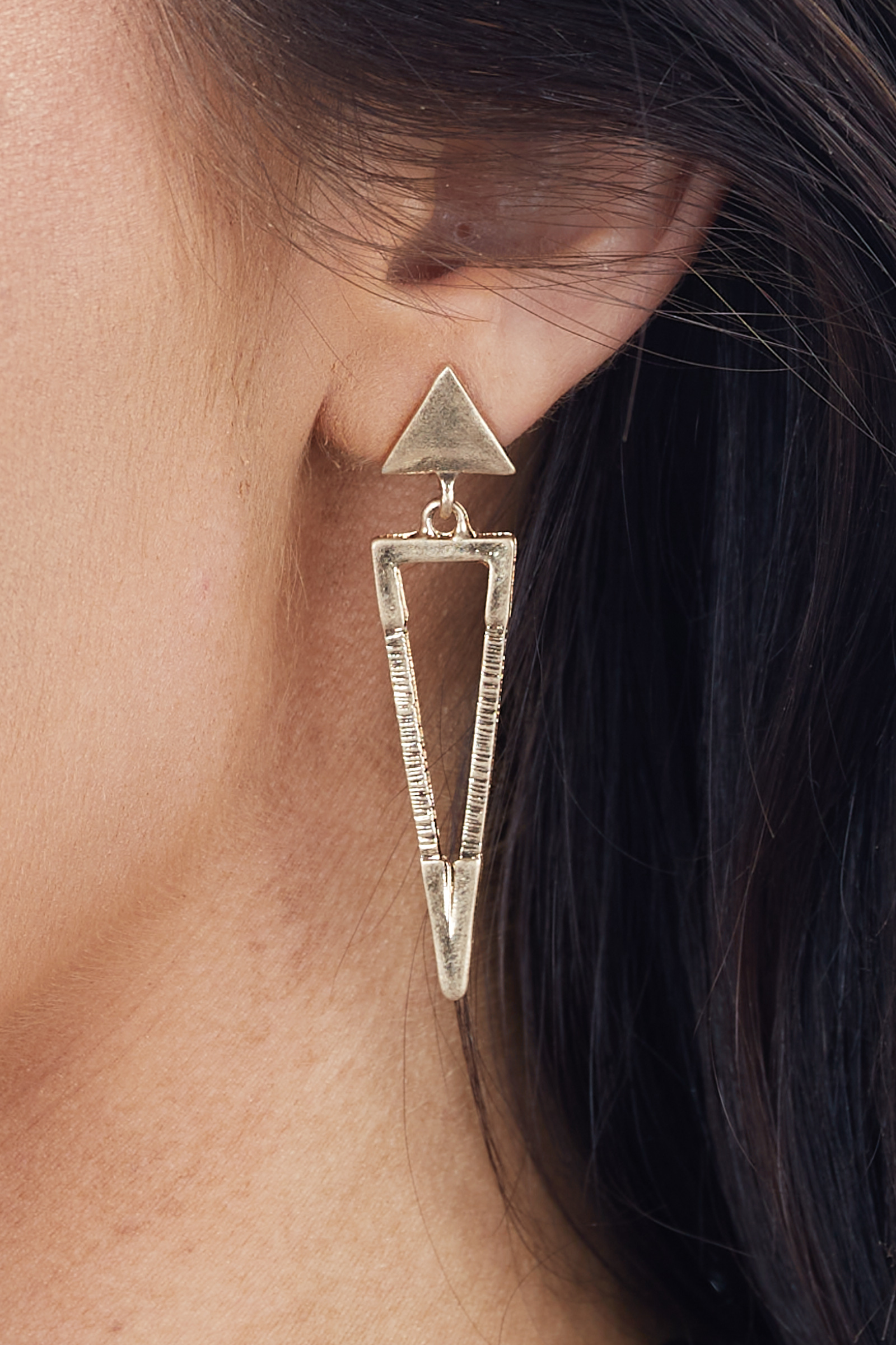 Gold Geometric Triangle Earrings with Textured Details