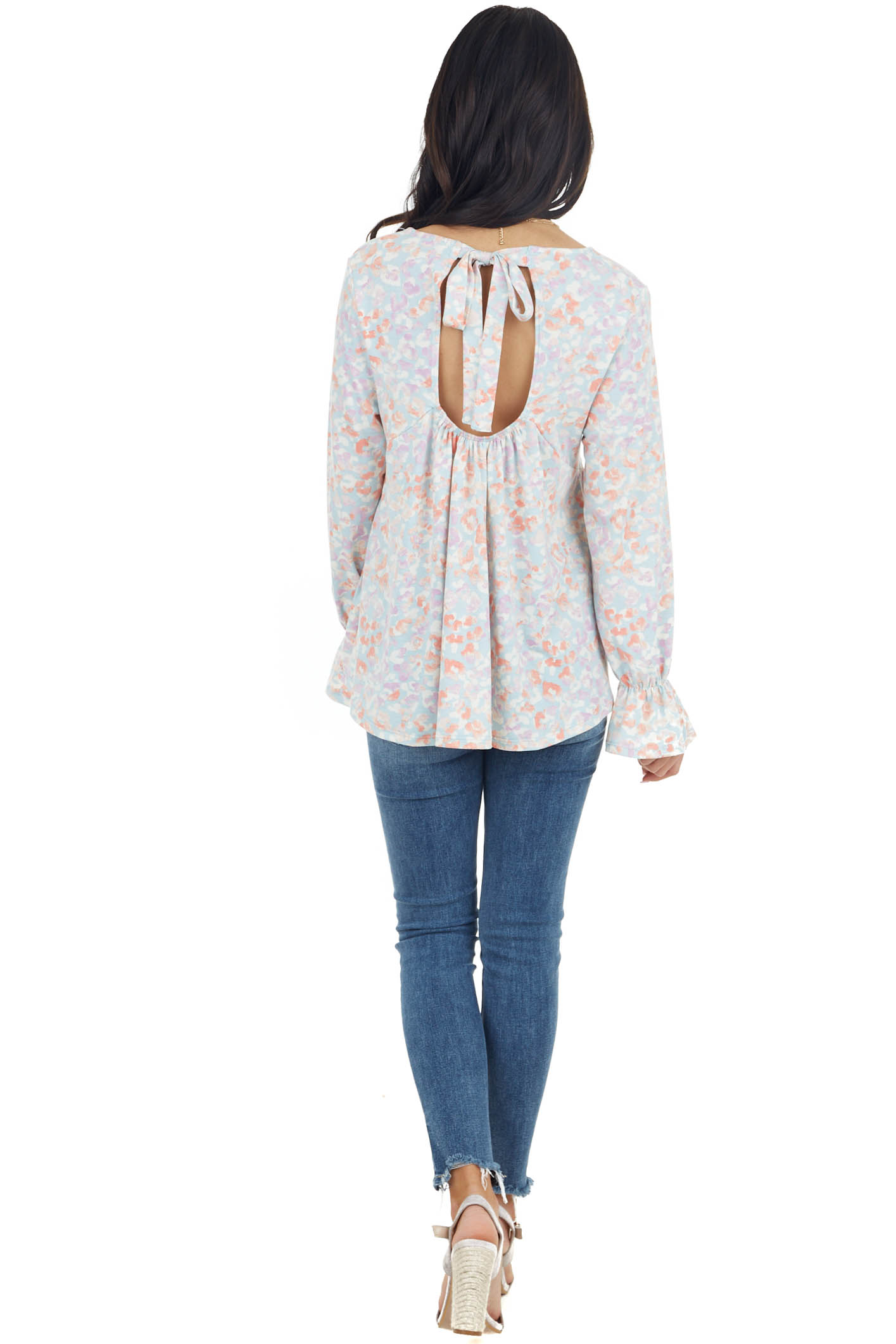 Baby Blue Floral Print Long Flare Sleeve Top with Open Back