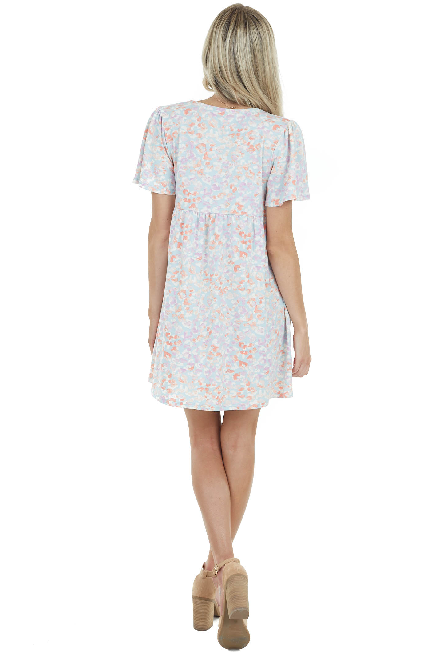Baby Blue Floral Print Babydoll Dress with Short Sleeves