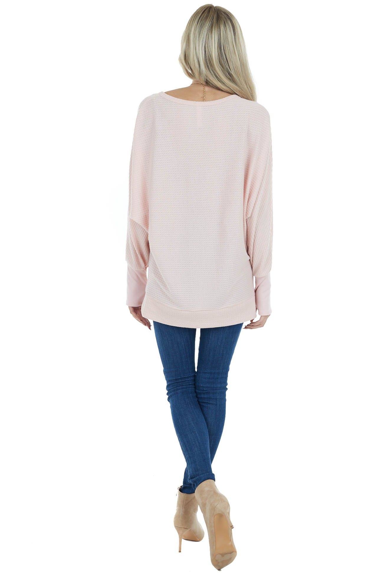 Soft Blush Dolman Sleeve Waffle Knit Top with Cuff Detail