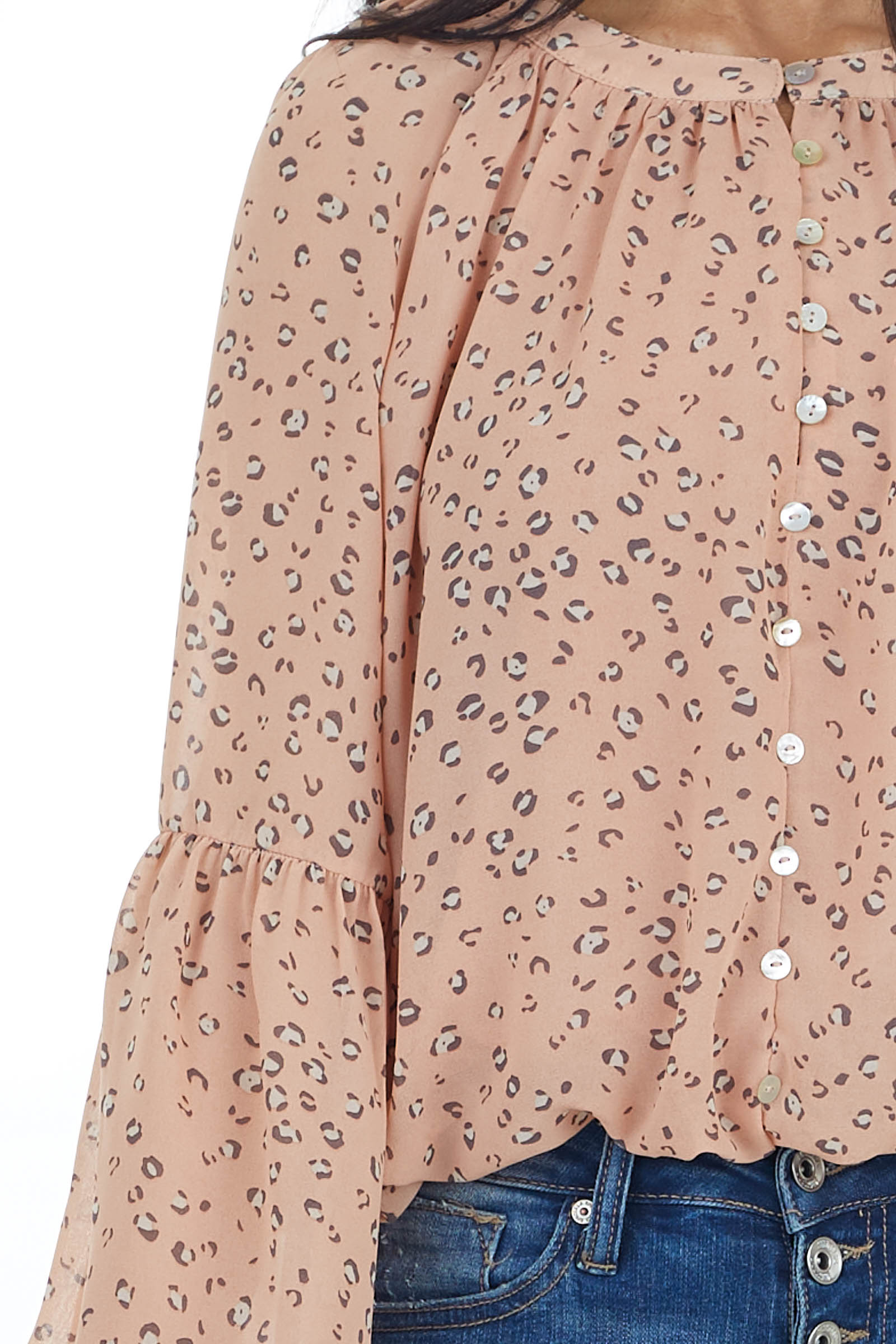 Peach Leopard Print Woven Top with Front Button Detail
