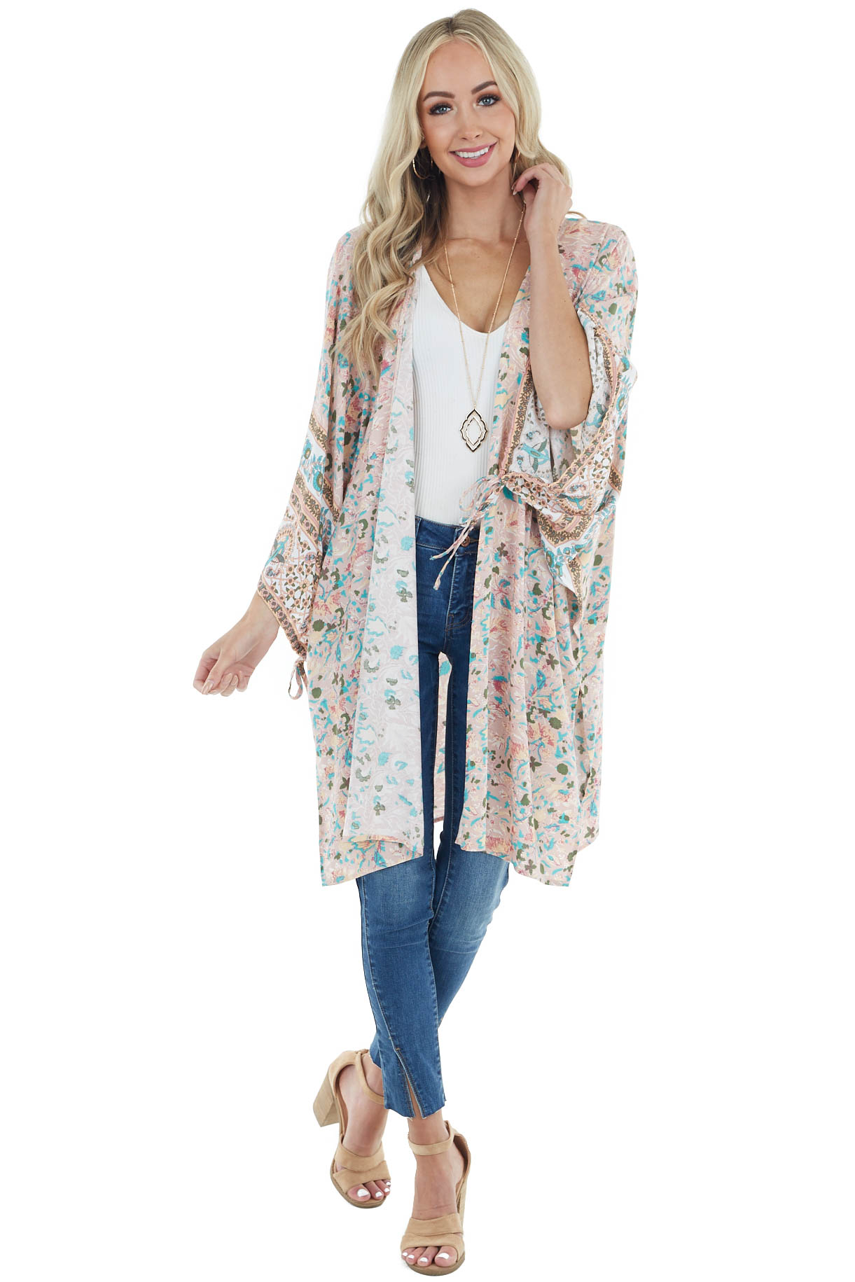 Dusty Blush Abstract Print Kimono with Side Slit Detail