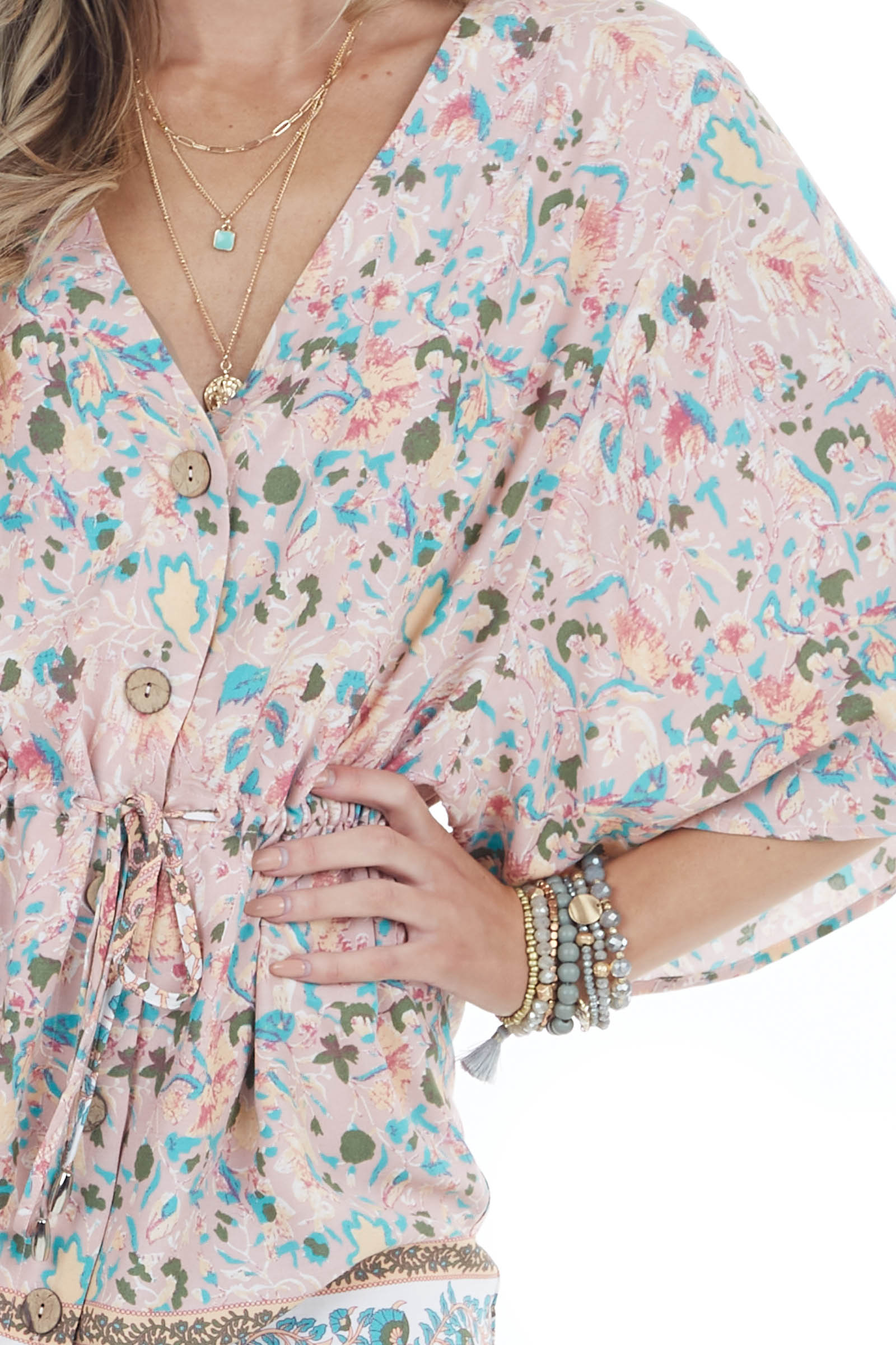 Dusty Blush Abstract Print Short Sleeve Dress with Buttons