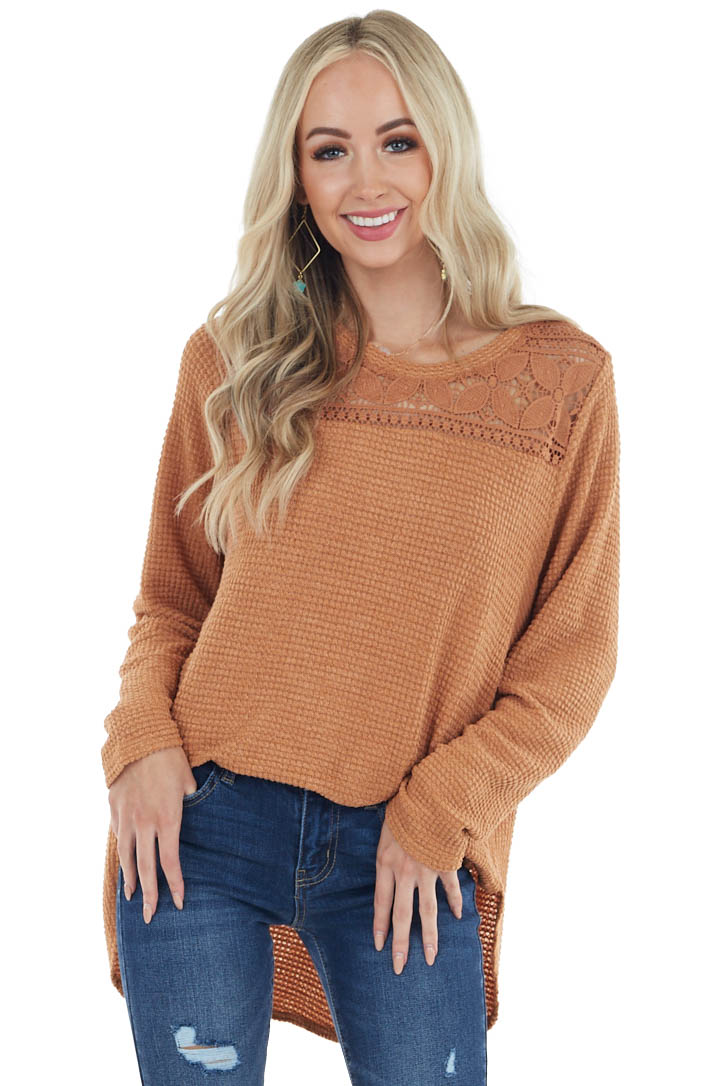 Light Cognac Waffle Knit Long Sleeve Top with Lace Details