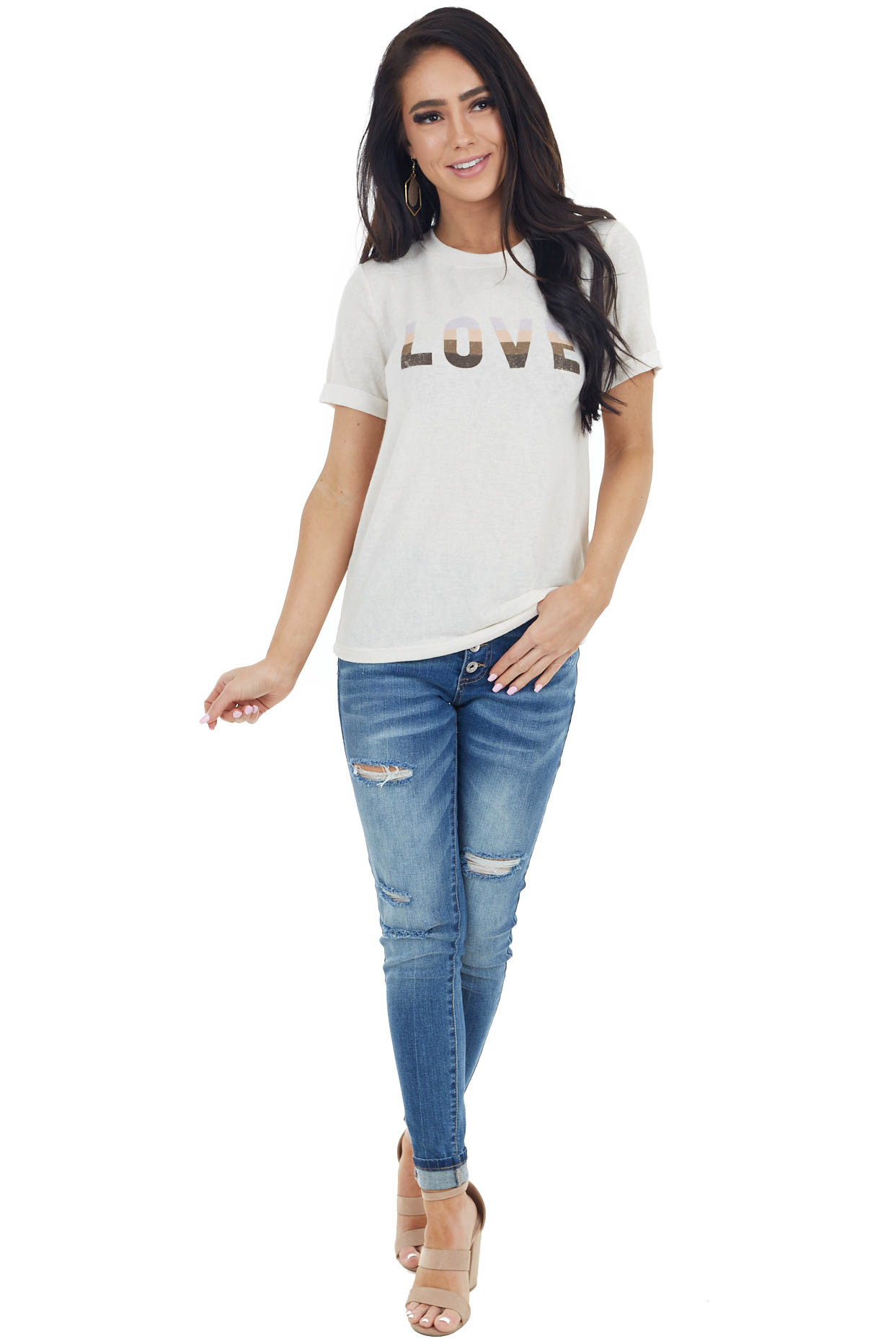 Cream 'Love' Graphic Stretchy Knit Tee with Short Sleeves