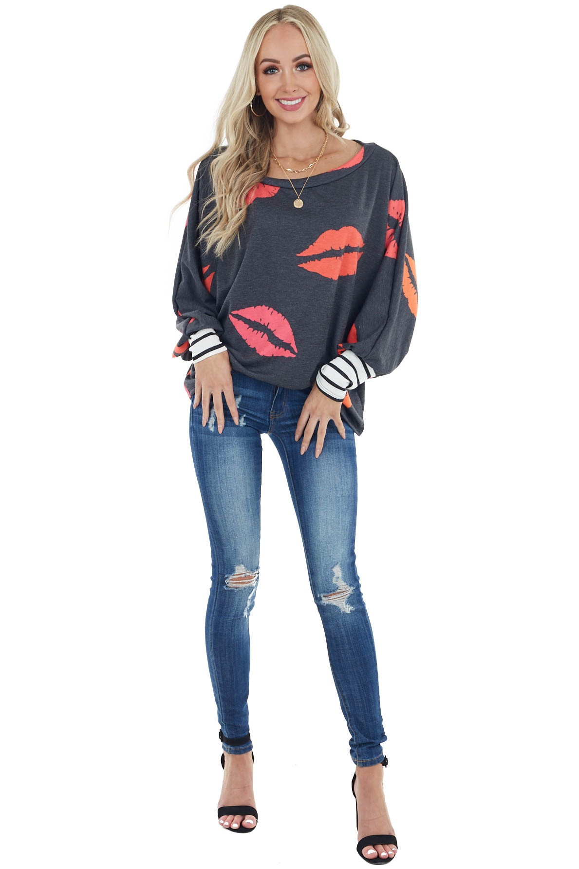 Charcoal Oversized Lip Print Top with Striped Cuff Details