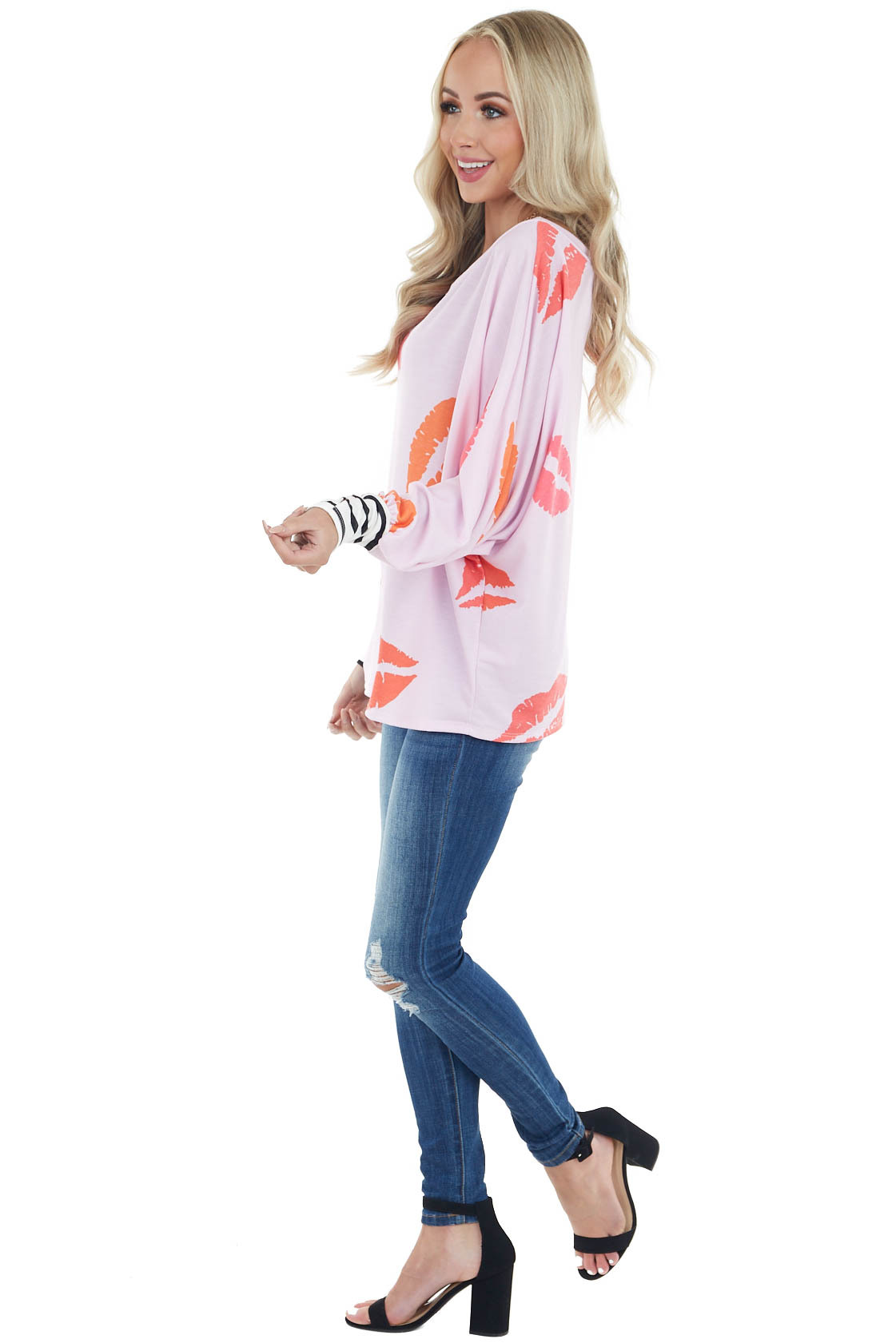 Blush Oversized Lip Print Top with Striped Cuff Details