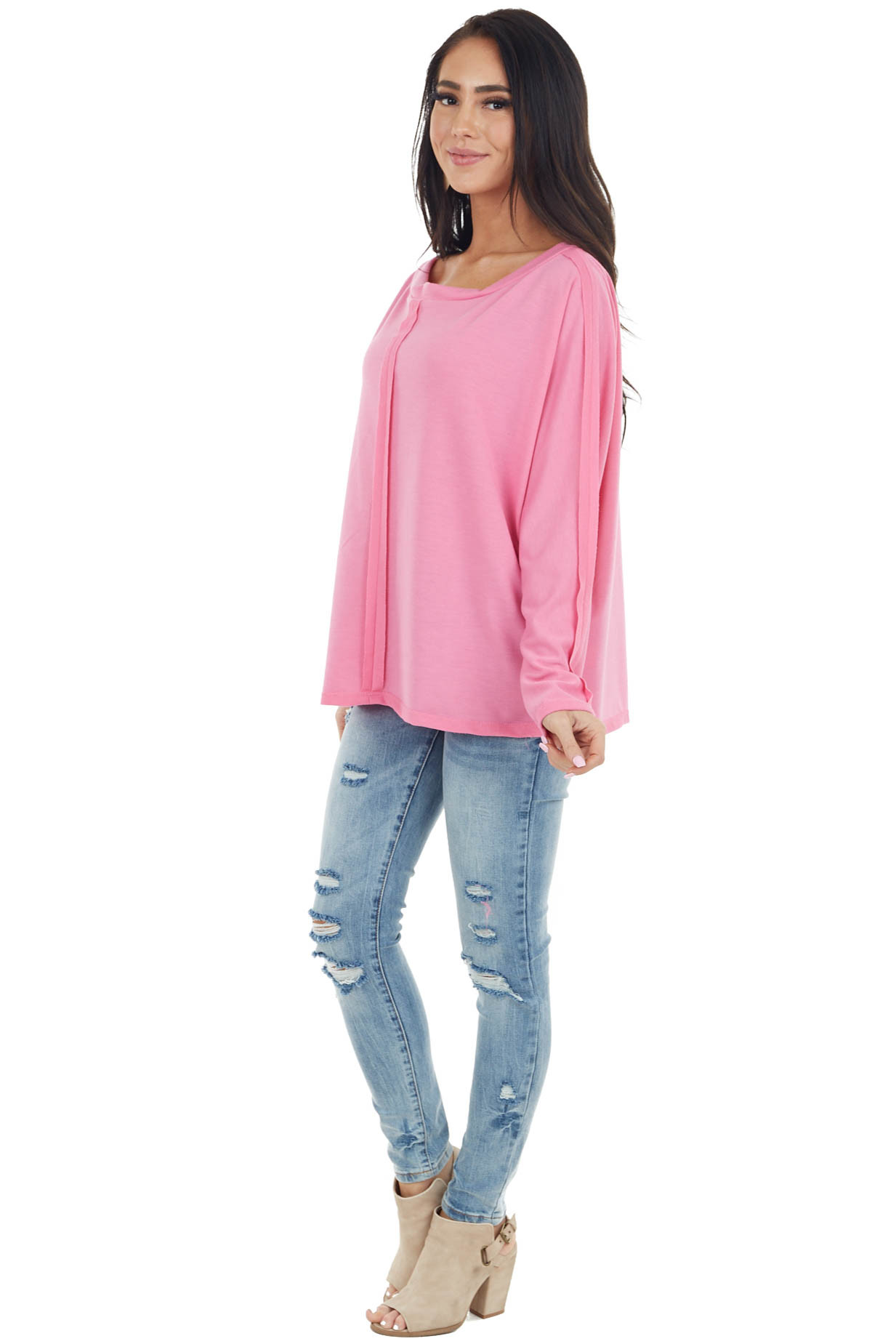 Hot Pink Long Sleeve Knit Top with Raw Seam Details