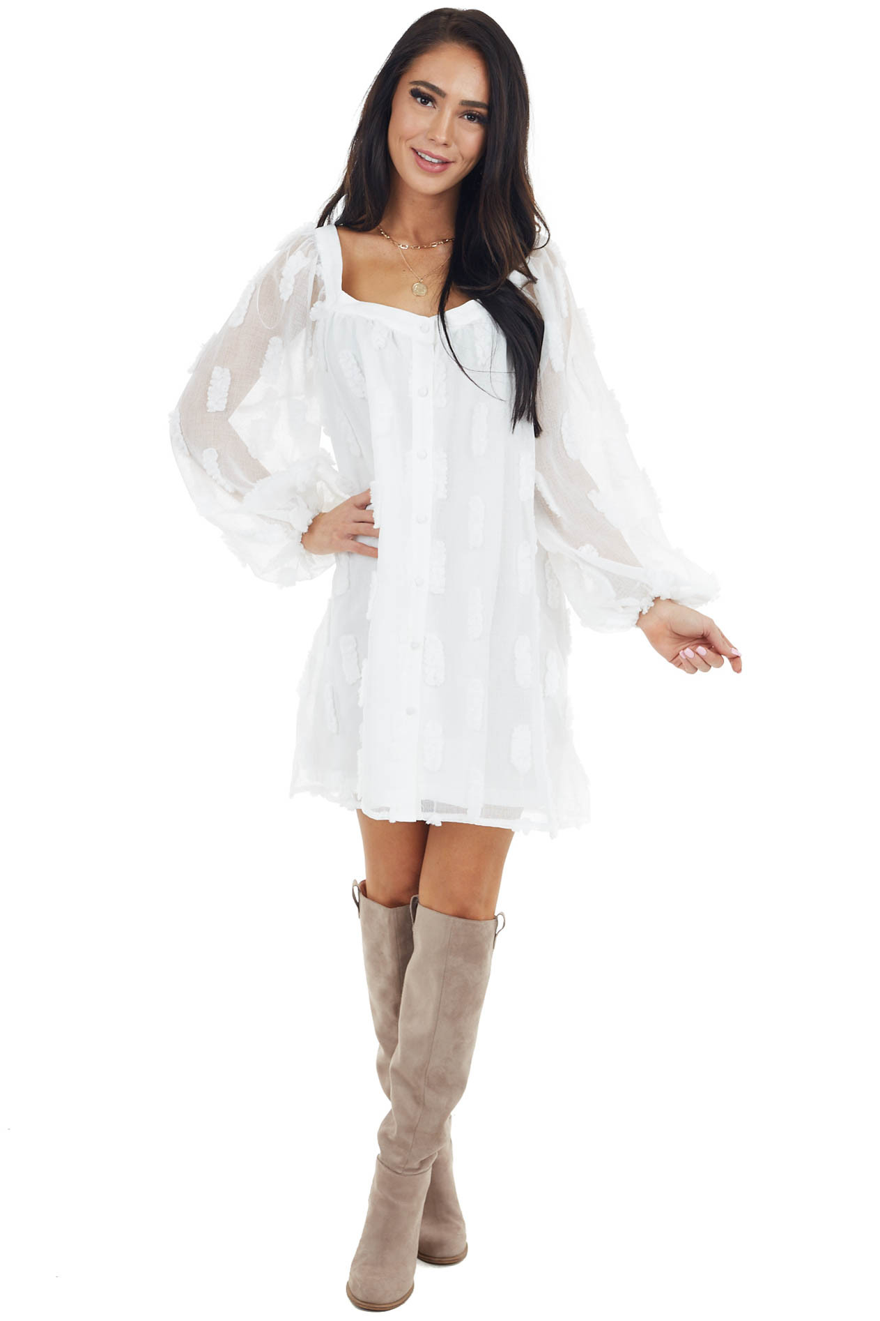 Ivory V Neck Textured Mini Dress with Sheer Long Sleeves