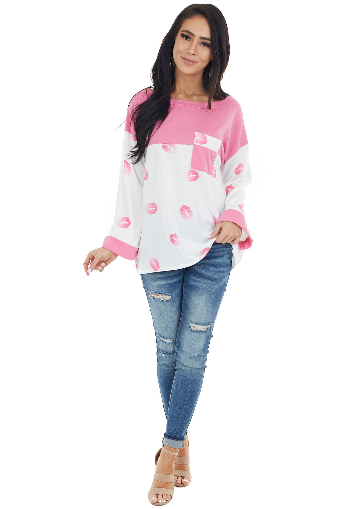Ivory and Pink Lipstick Print Top with Front Chest Pocket