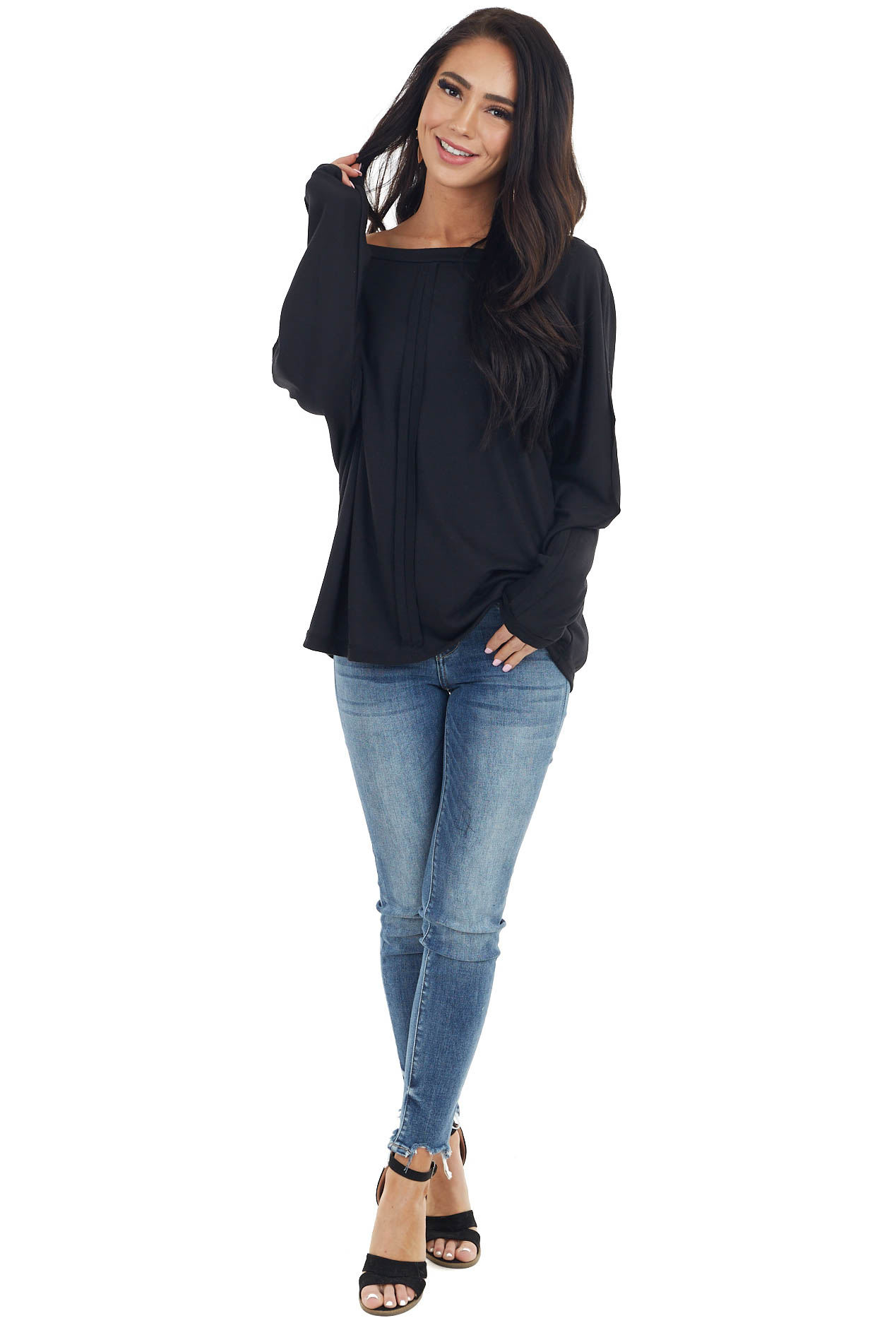 Black Long Sleeve Knit Top with Outseam Details
