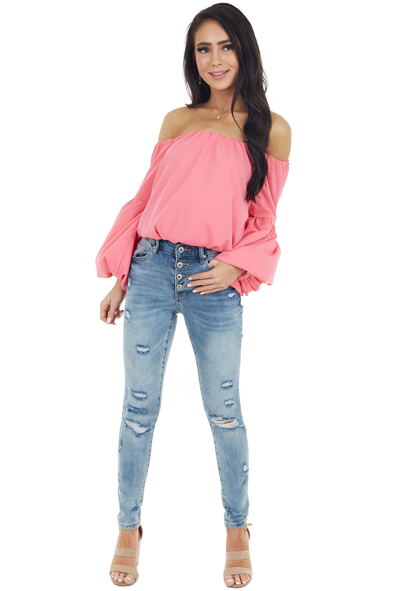Dark Pink Off The Shoulder Blouse with Long Puff Sleeves