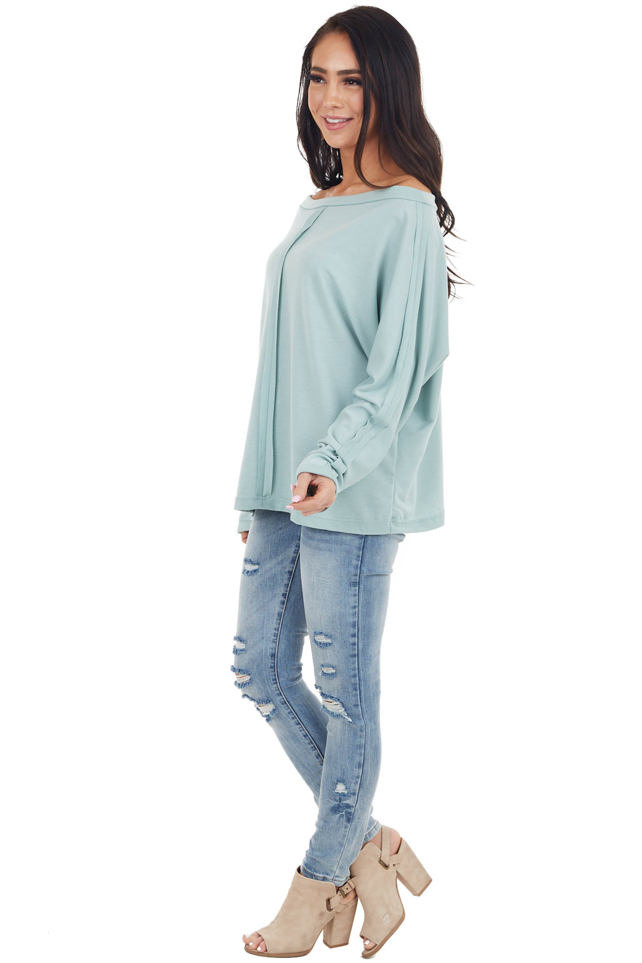 Sage Long Sleeve Knit Top with Outseam Details