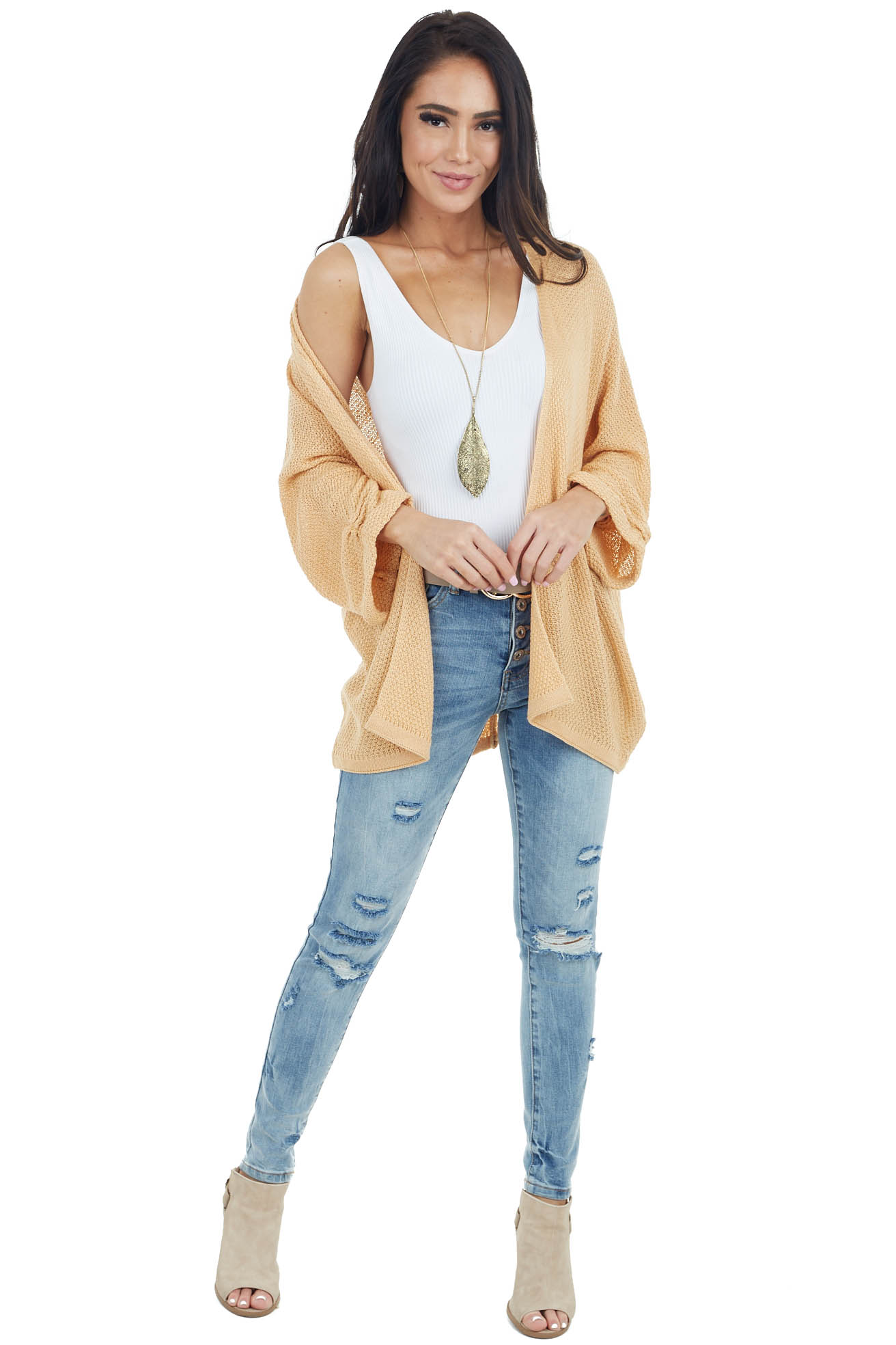 Light Amber Open Front Knit Cardigan with 3/4 Wide Sleeves