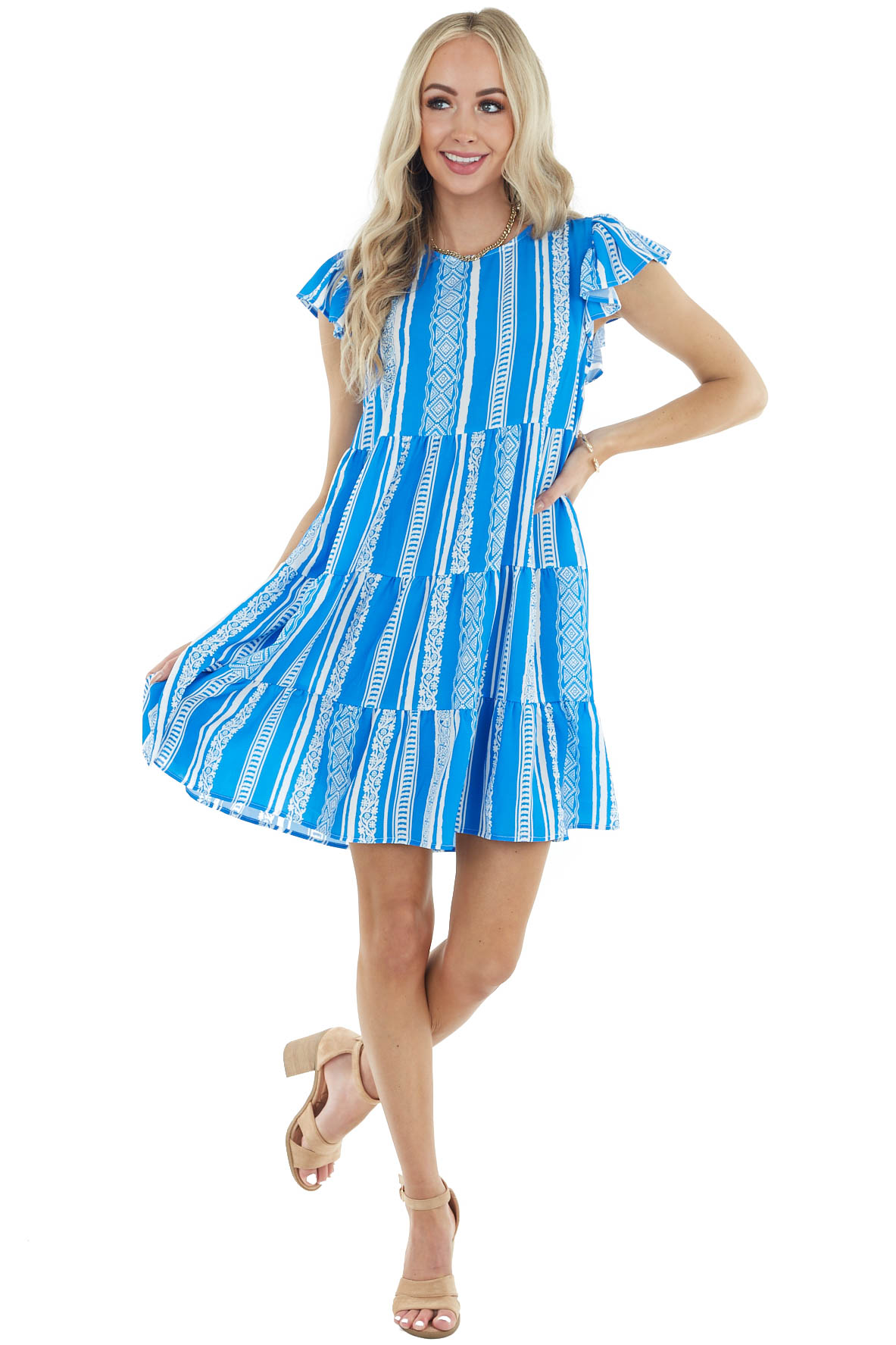 Royal Blue Tiered Short Dress with Short Ruffle Sleeves
