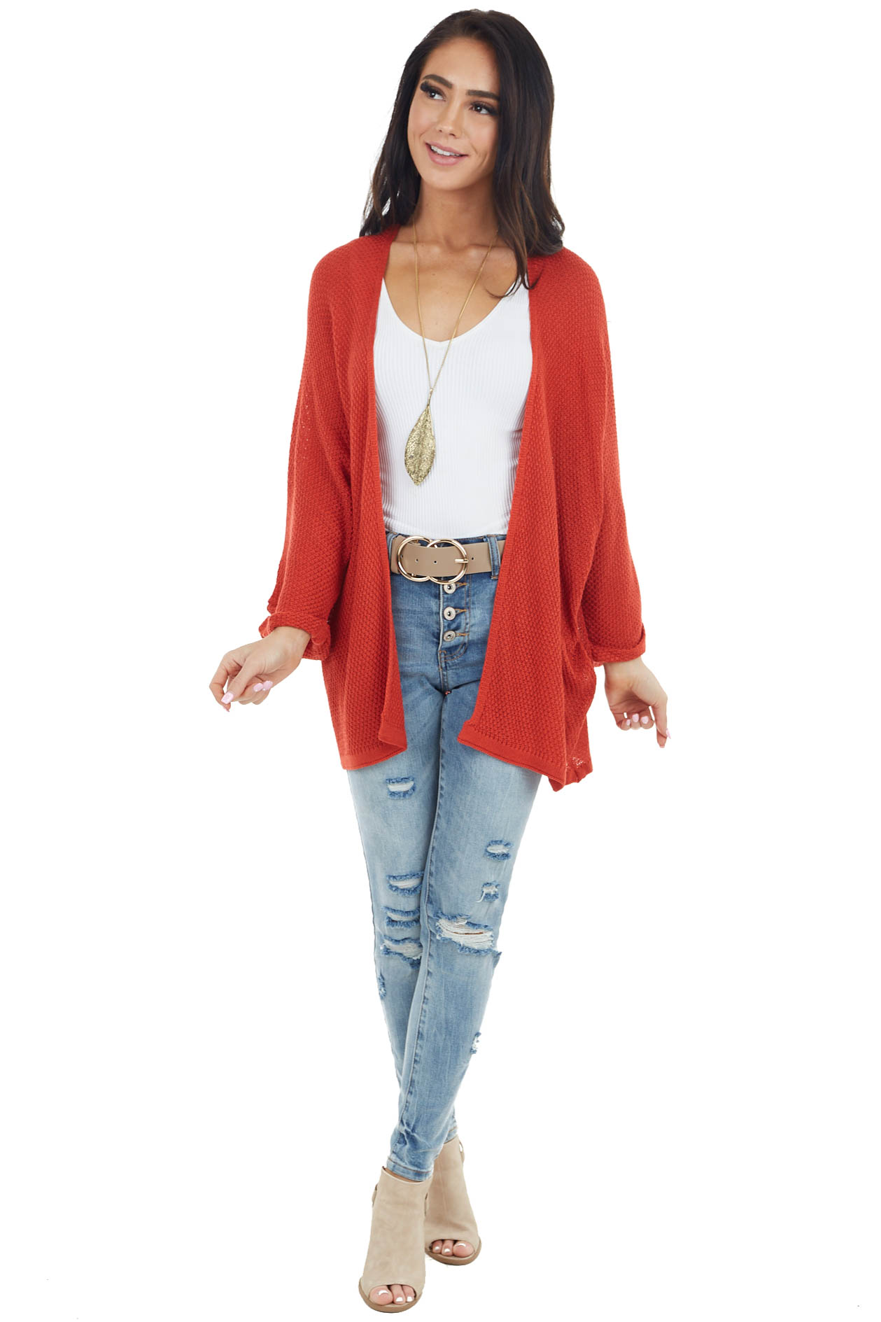Tomato Red Open Front Knit Cardigan with 3/4 Wide Sleeves