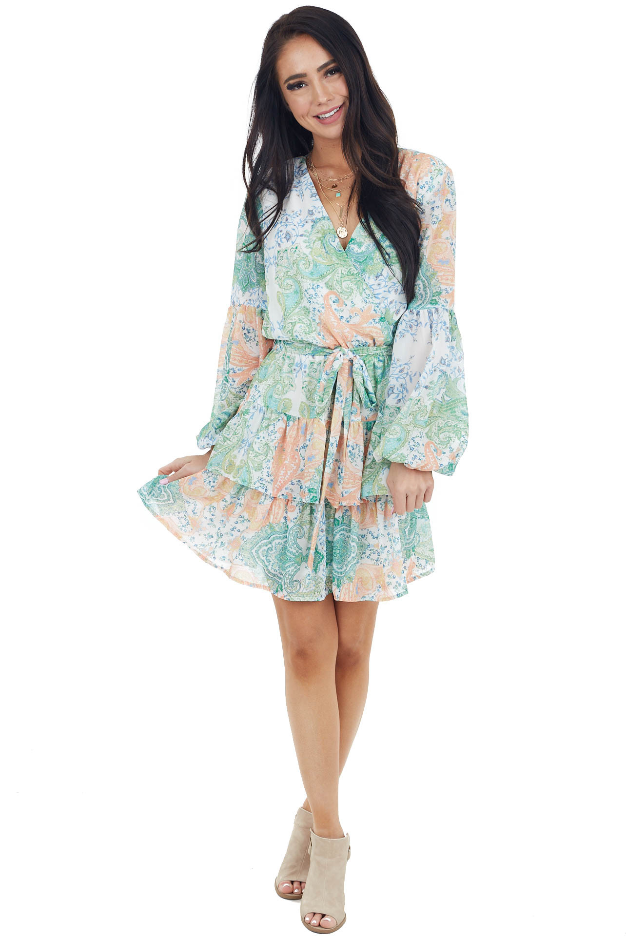 Shamrock Paisley Print Long Sleeve Surplice Dress with Tie