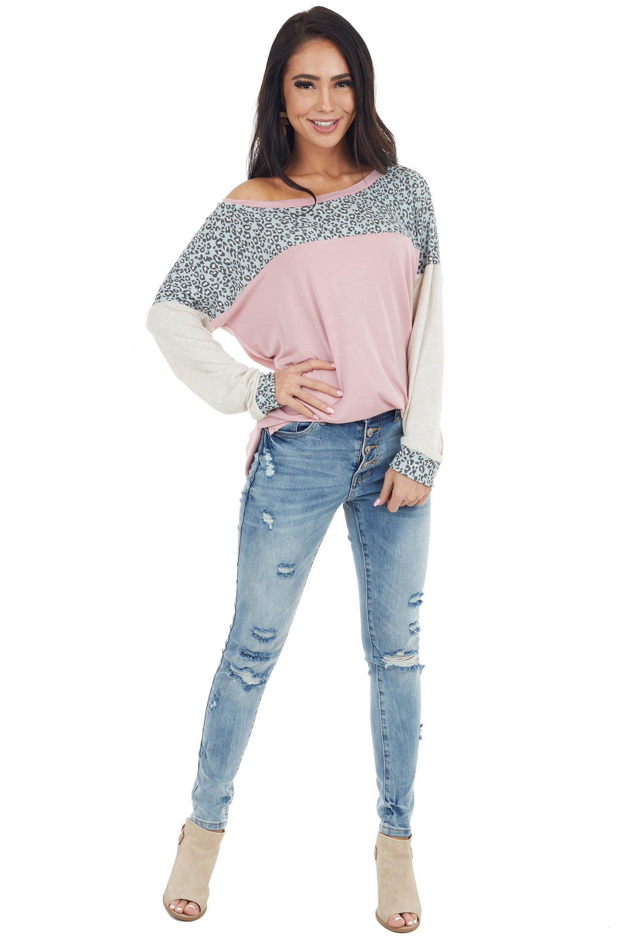 Dusty Blush and Leopard Print Long Dolman Sleeve Knit Top