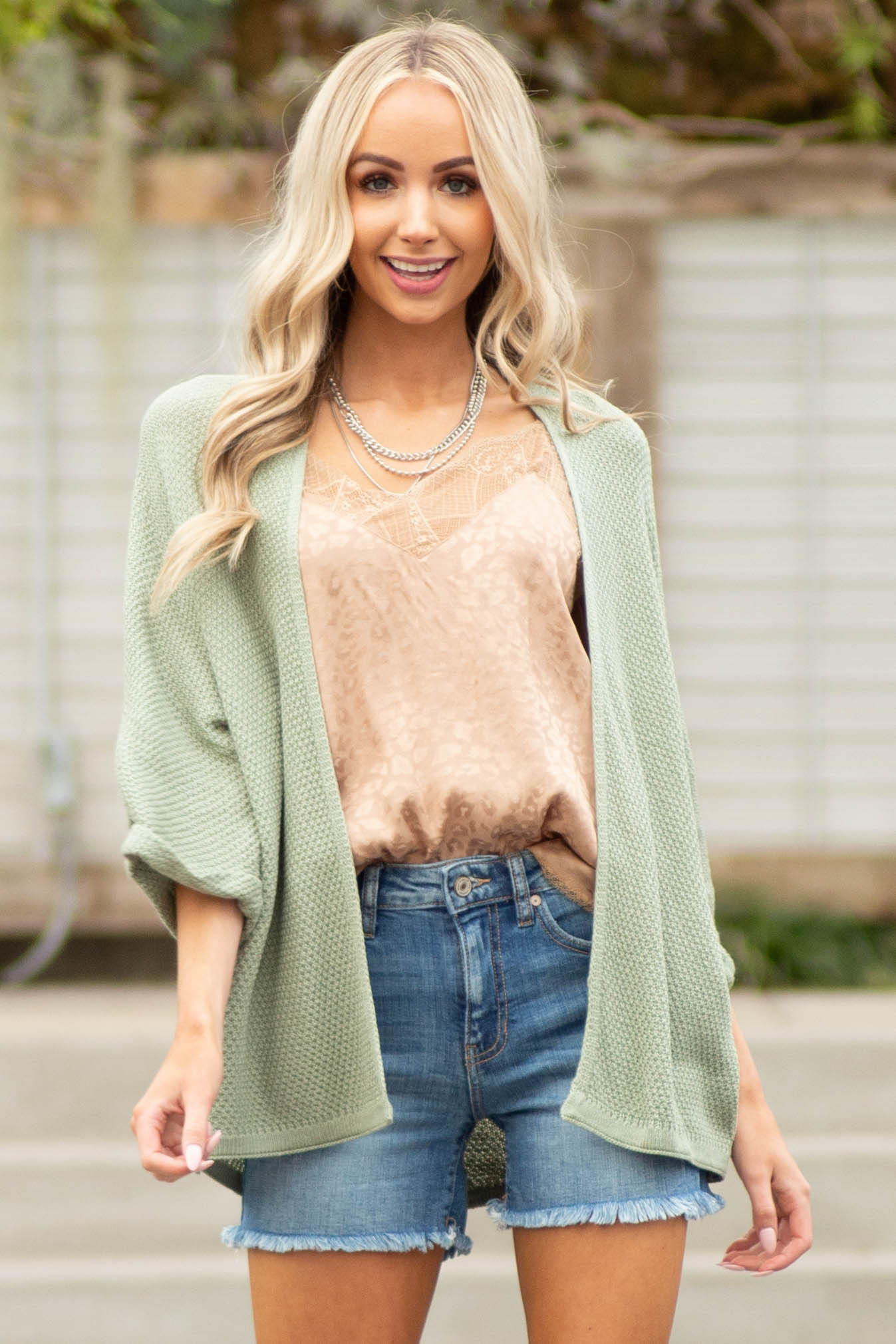 Sage Open Front Knit Cardigan with 3/4 Wide Sleeves