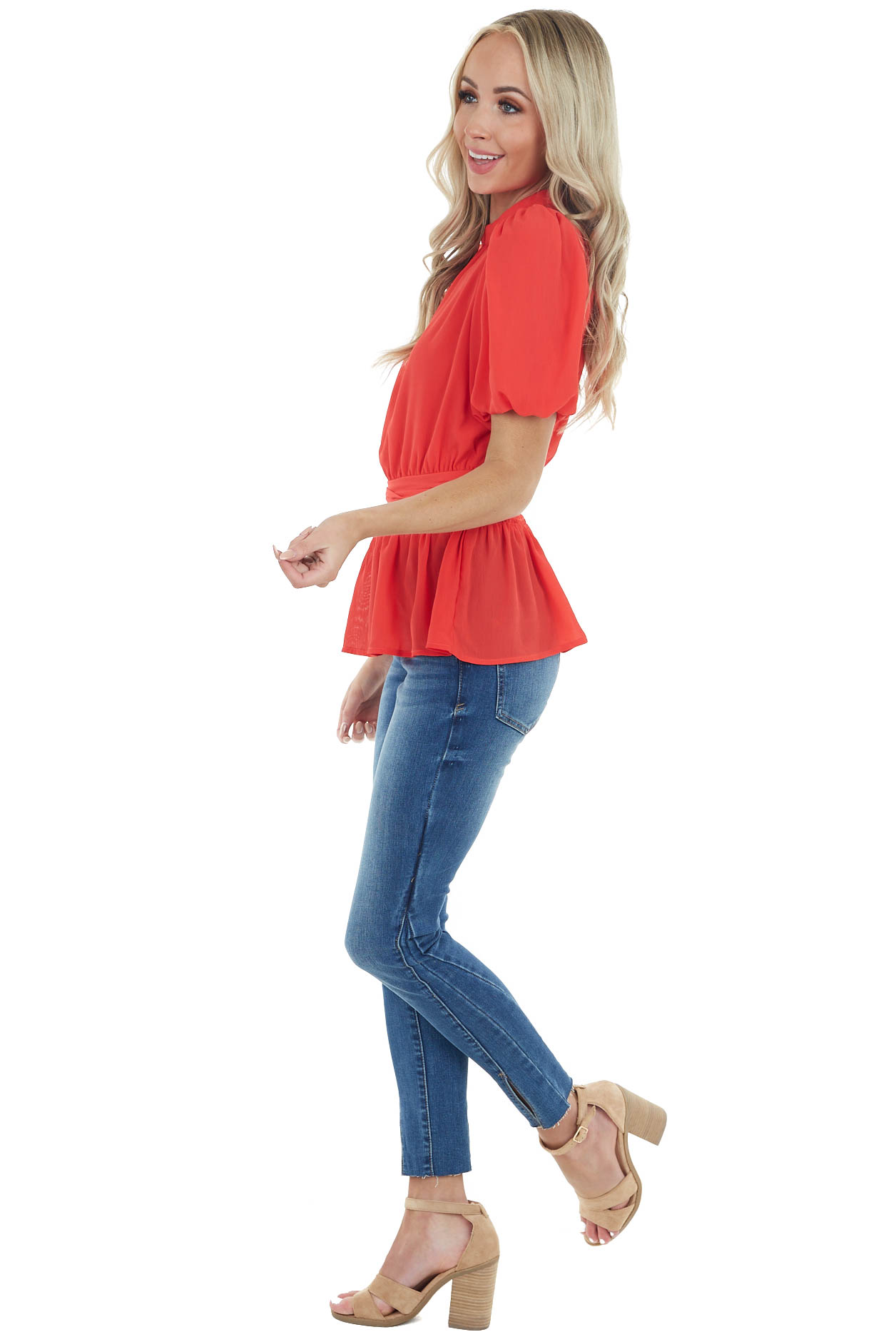 Ruby Red High Neckline Blouse with Short Bubble Sleeves
