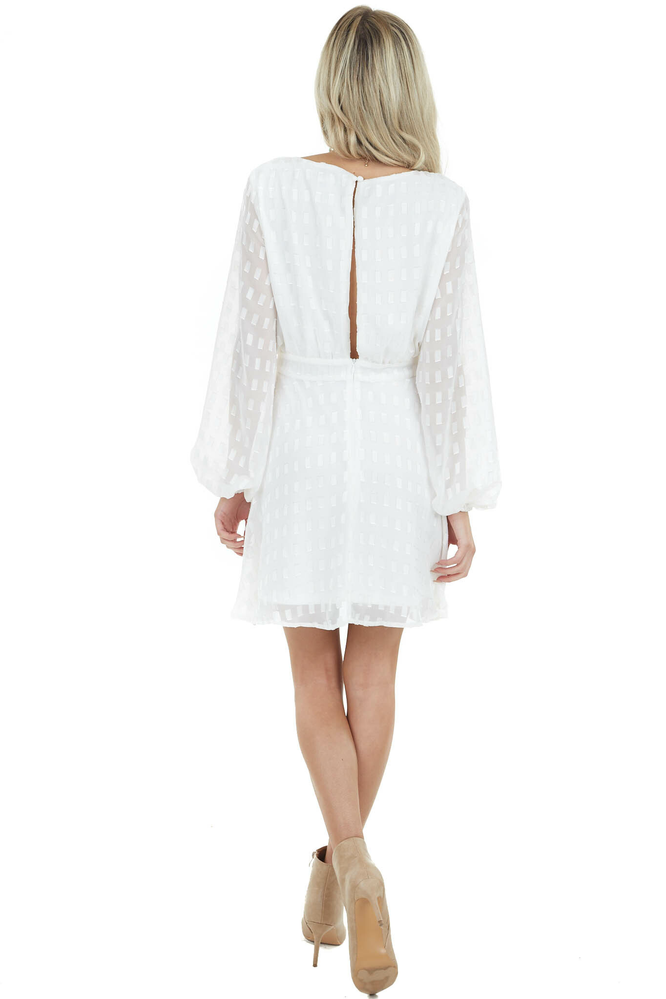 Pearl White Bubble Waist Dress with Gold Thread Details