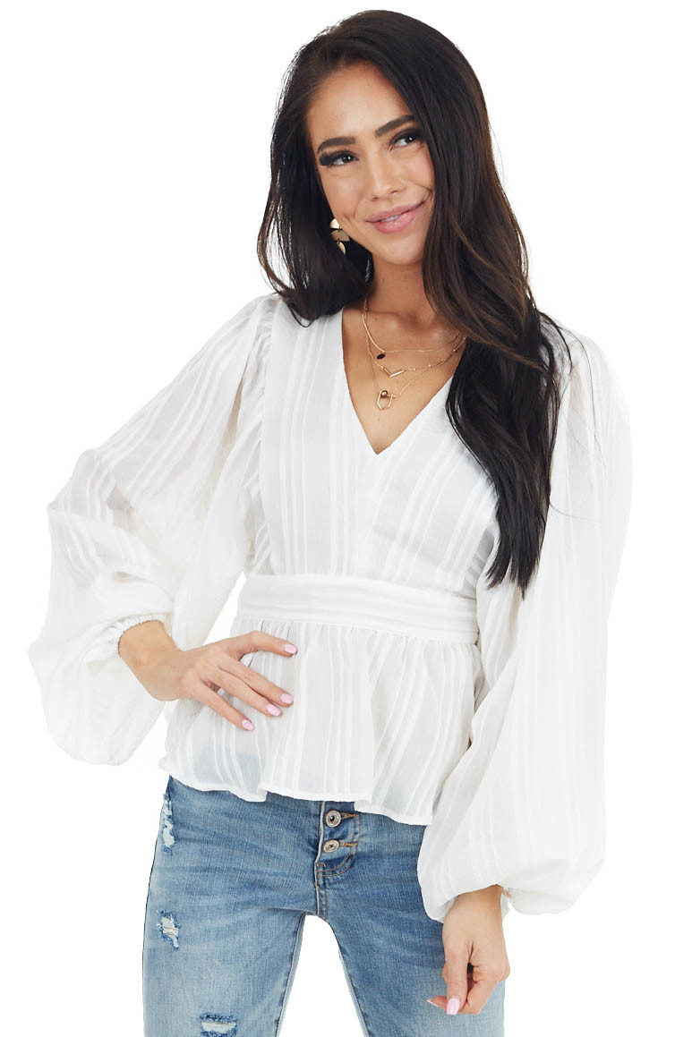 Ivory Long Puff Sleeve Peplum Top with Textured Stripes